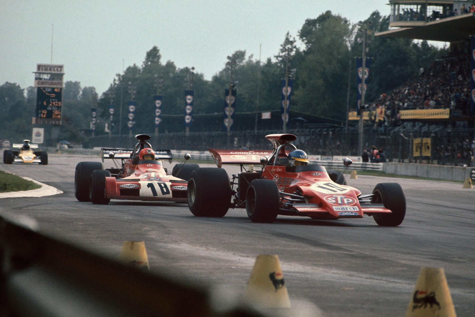 Ronnie Peterson (March) leads Niki Lauda (March) at the 1972 Italian Grand Prix, Monza.