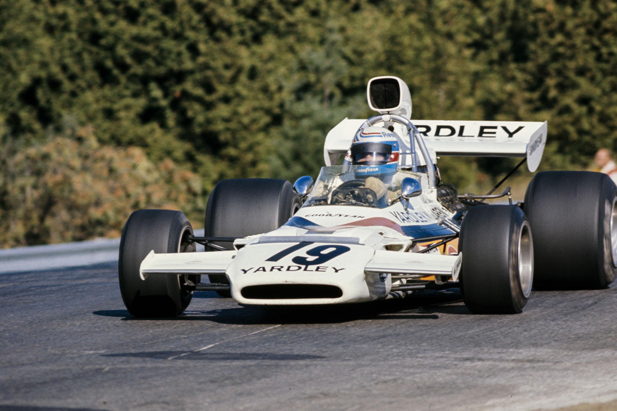 Peter Revson driving for McLare ta the 1972 Canadian Grand Prix.