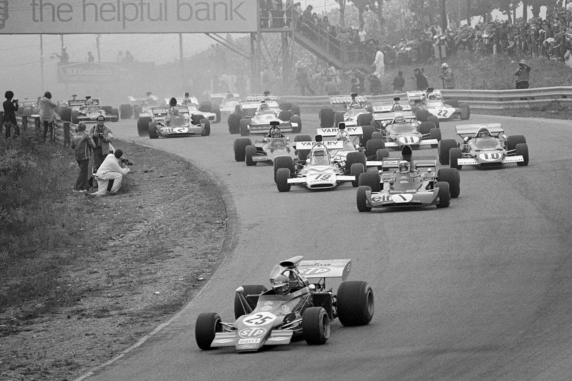 The cars pour into the first corner at the start of the 1972 Canadian Grand Prix.