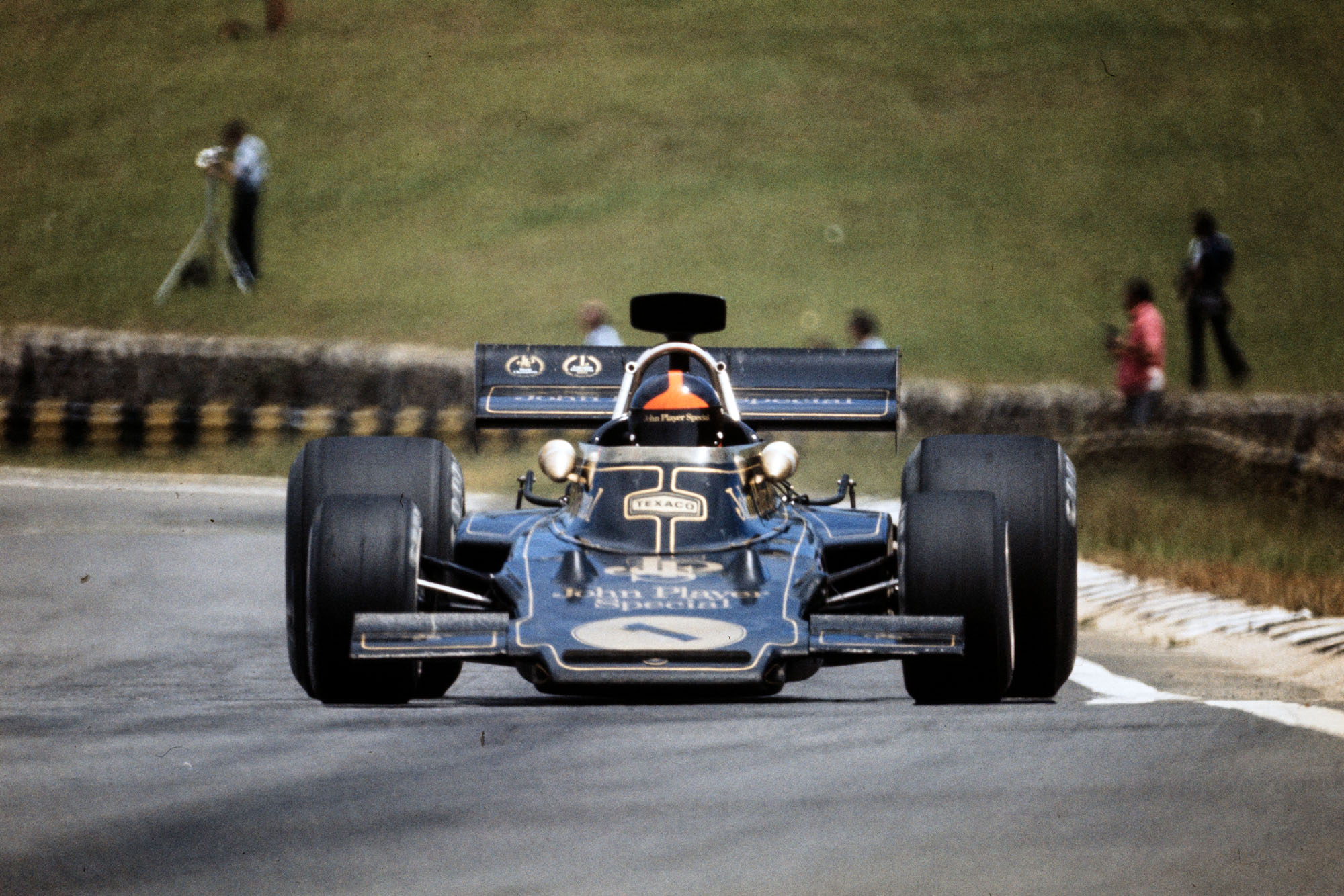 Emerson Fittipaldi driving for Lotus at the 1973 Brazilian Grand Prix, Interlagos.