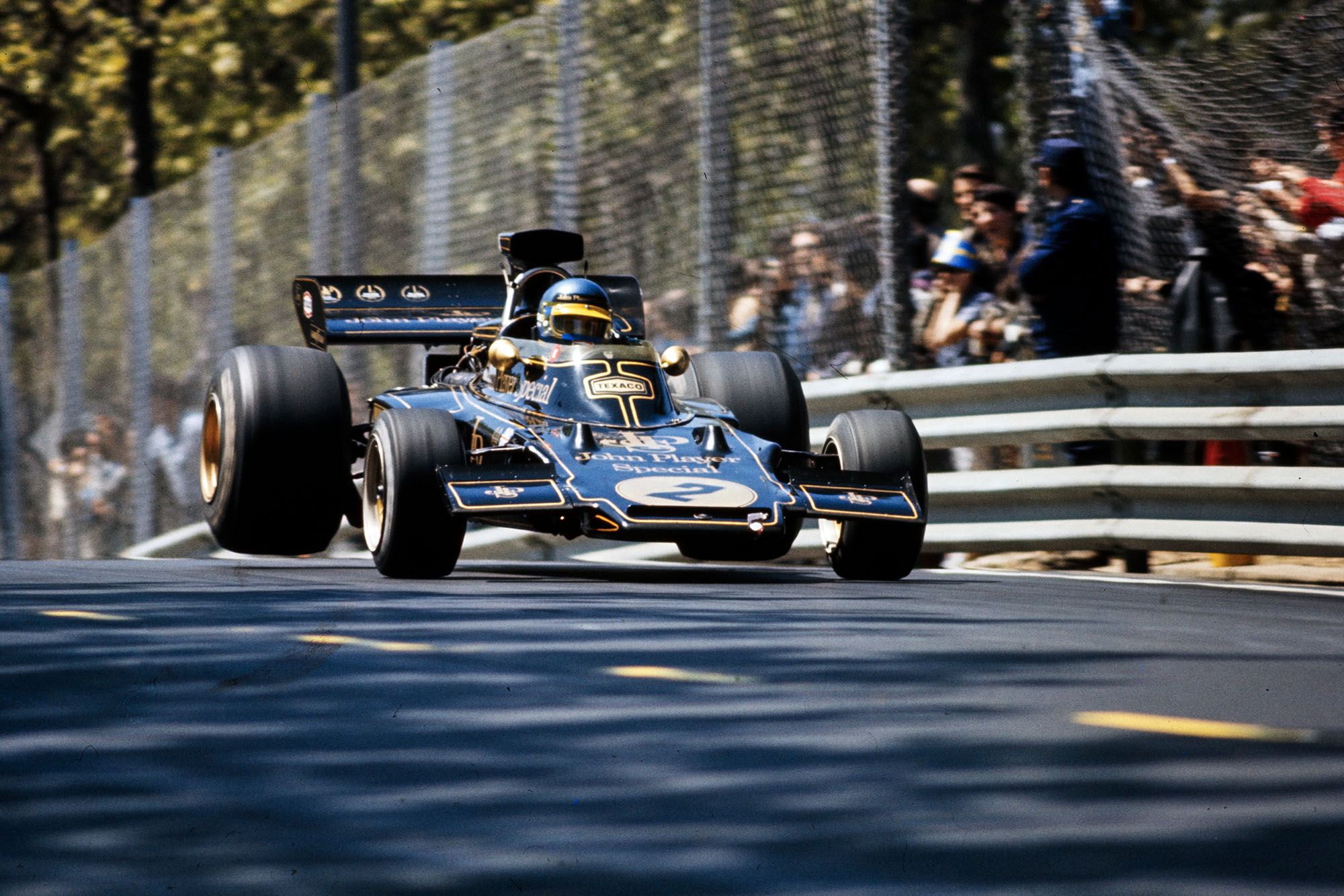 Ronnie Peterson driving for Lotus at the 1973 Spanish Grand Prix.
