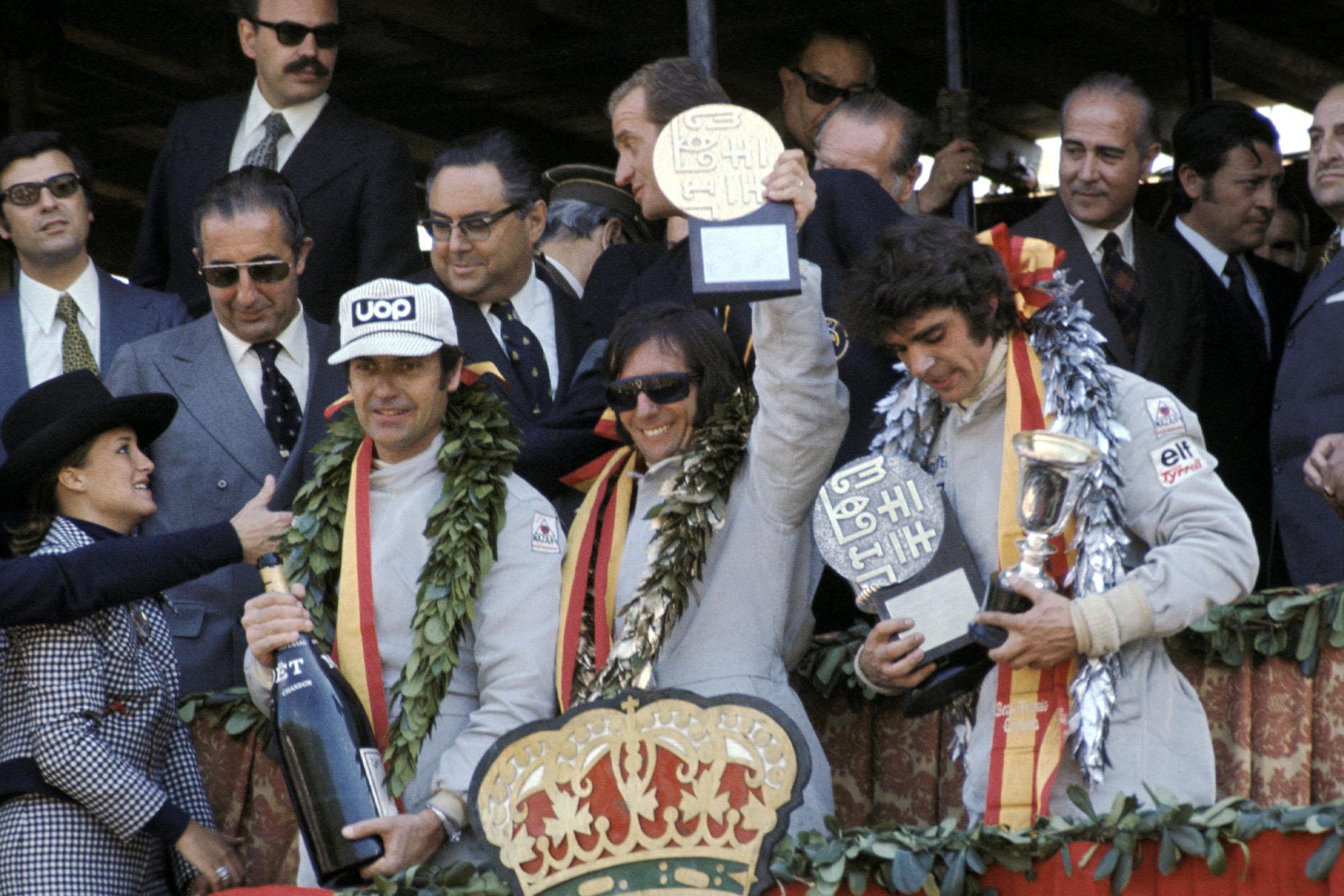 Emerson Fittipaldi celebrates his win at the 1973 Spanish Grand Prix, Montjuïch Park.