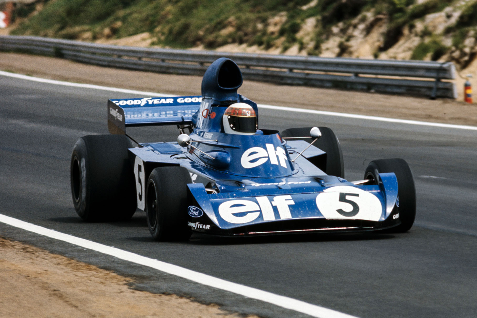 Jackie Stewart driving for Tyrrell at the 1973 Belgian Grand Prix