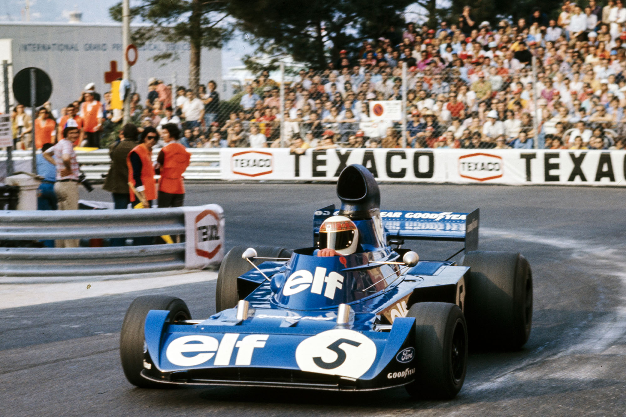Jackie Stewart driving for Tyrrell at the 1973 Monaco Grand Prix.