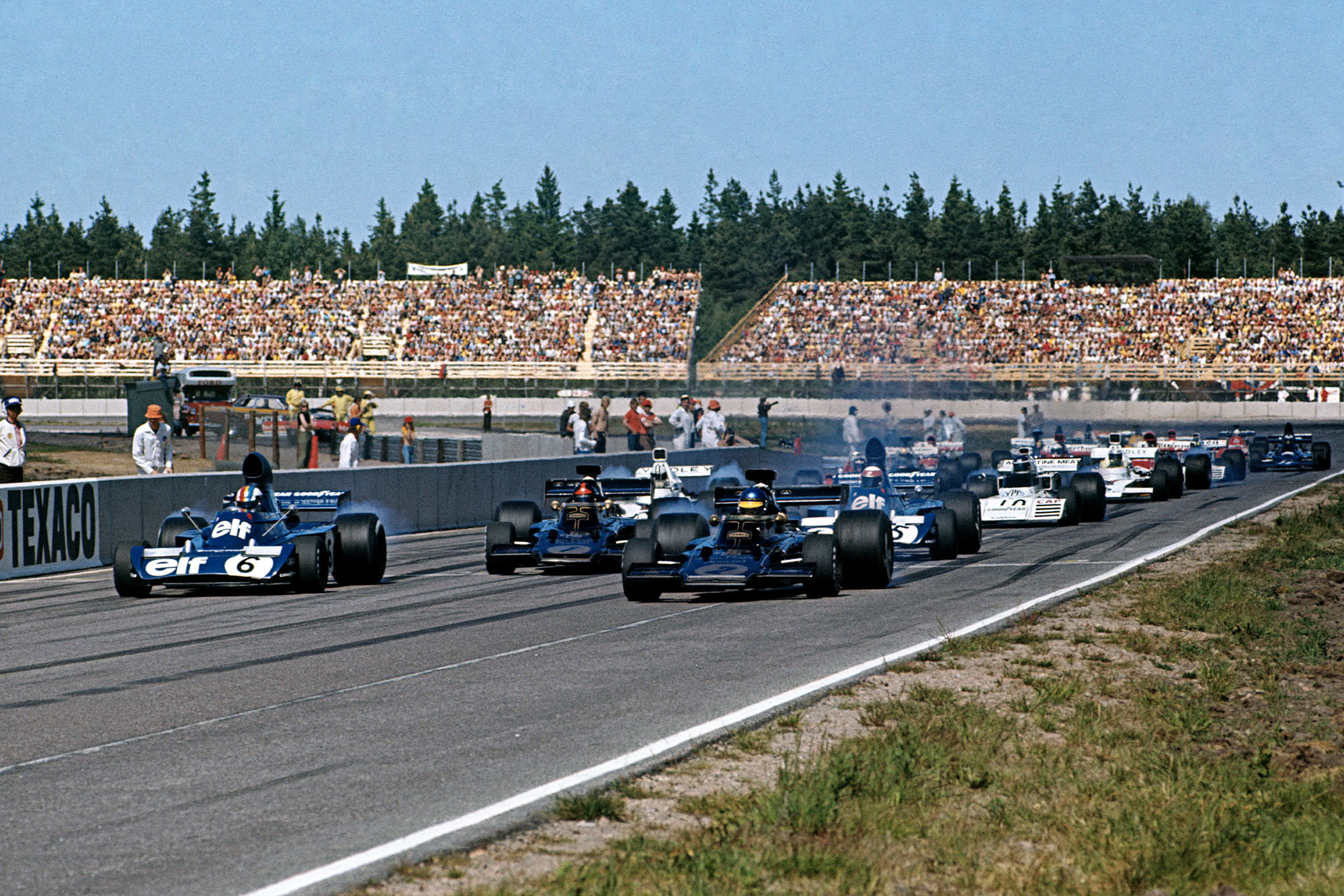 The 1973 Swedish Grand Prix gets underway as the cars leave the grid