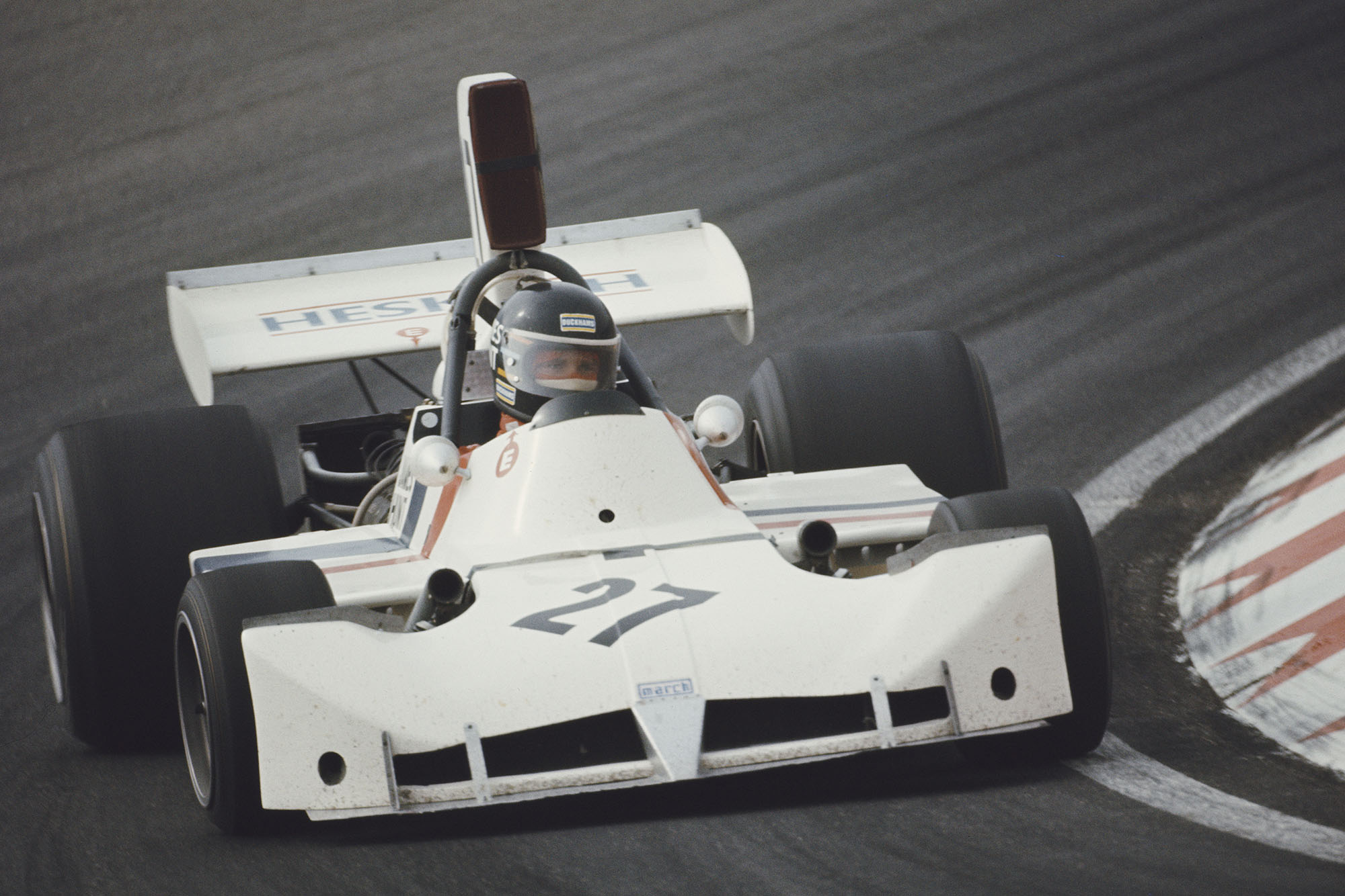 Hesketh's James Hunt takes corner at the 1973 Dutch Grand Prix, Zandvoort.