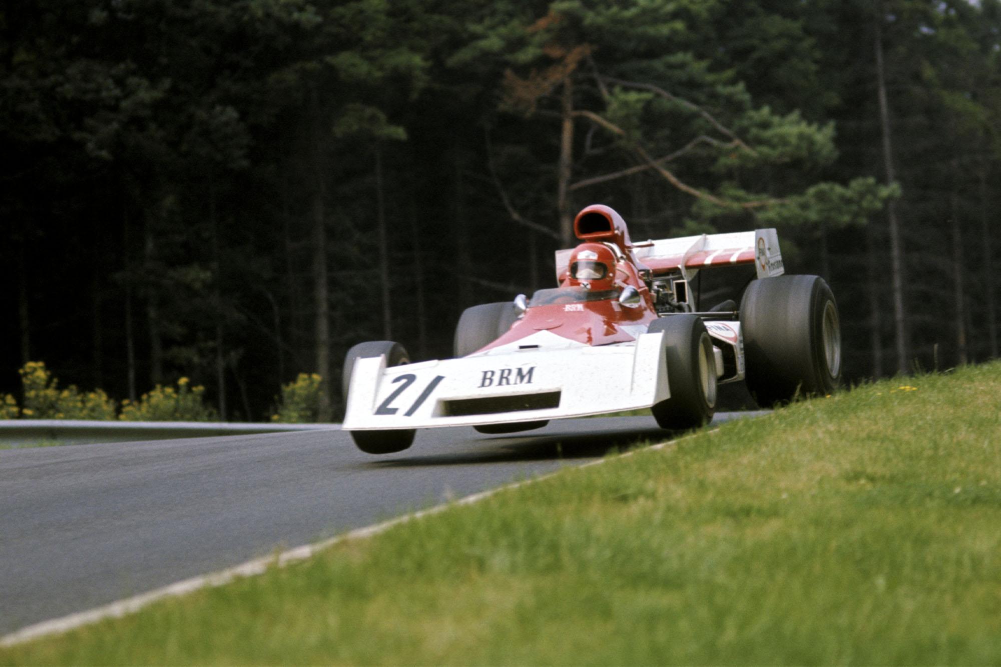 March driver Niki Lauda takes flight on the Flugplatz.