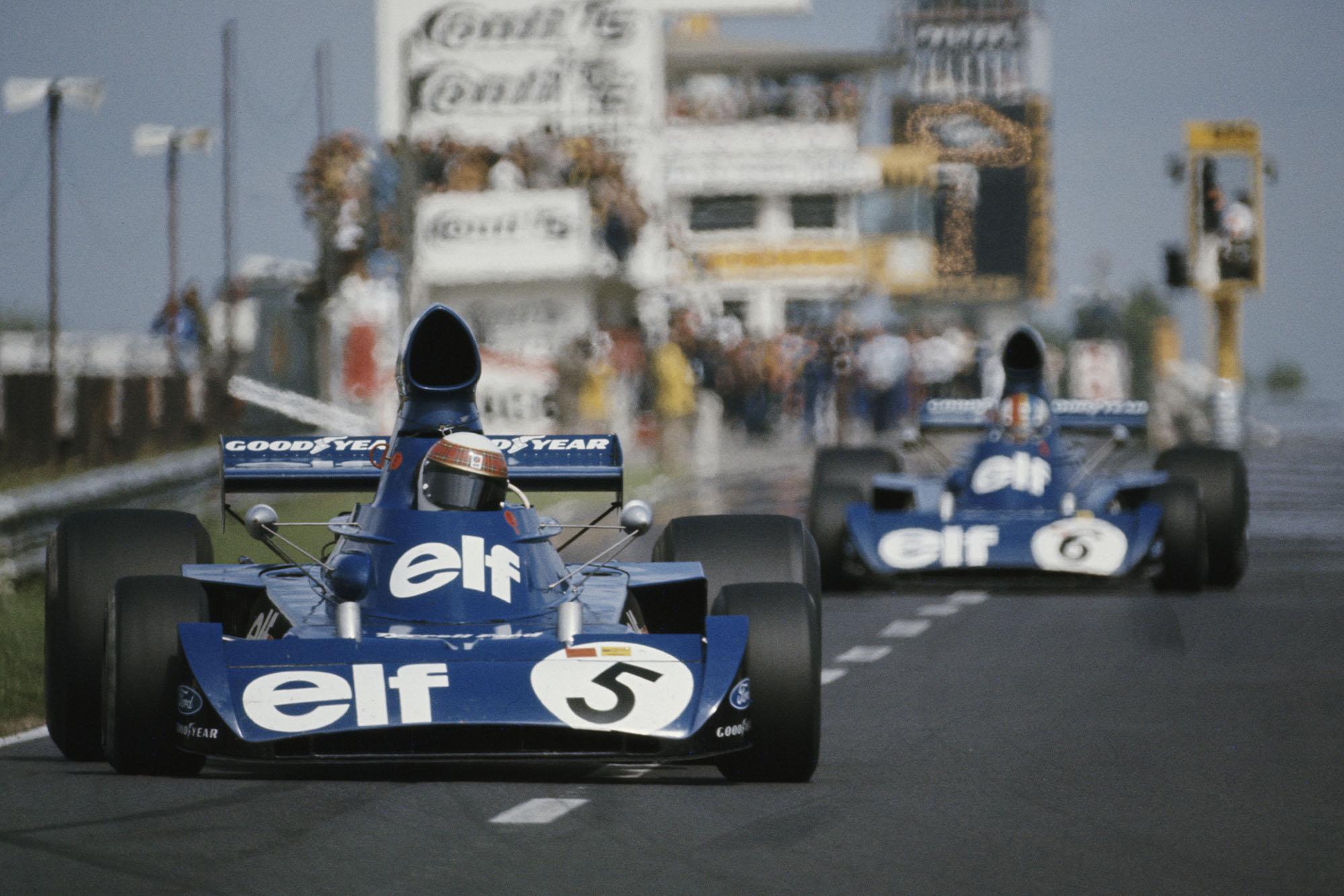 Jackie Stewart leads Tyrrell team-mate Francois Cevert at the 1973 German Grand Prix, Nurburgring.