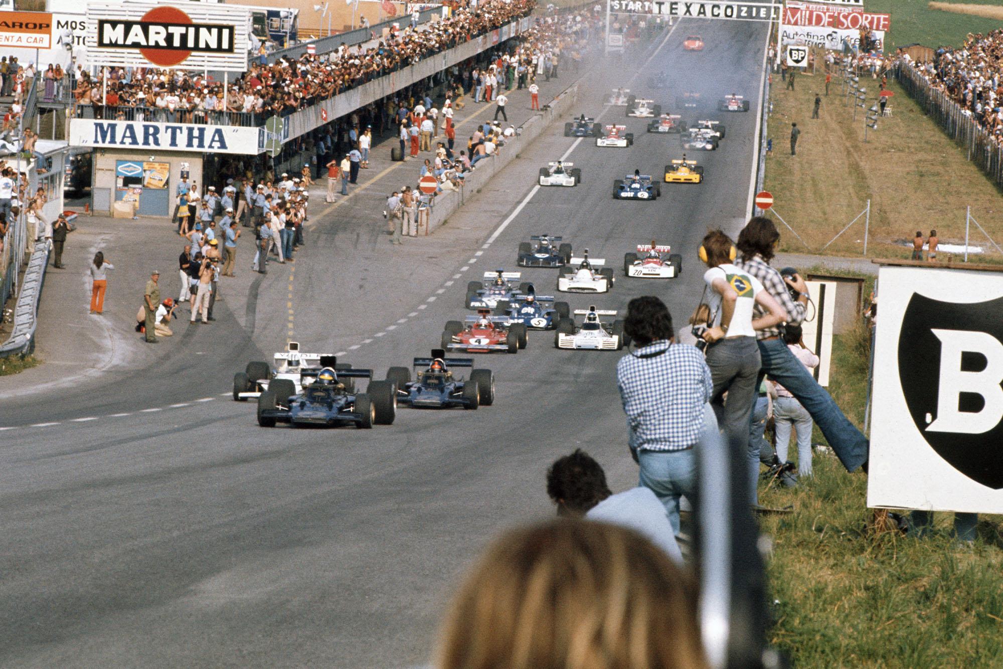 Emerson Fittipaldi takes the lead at the 1973 Austrian Grand Prix start.