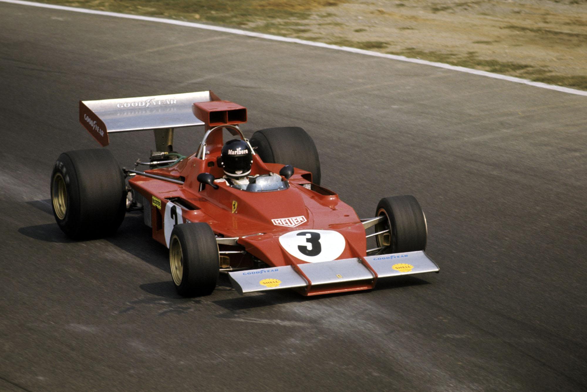 Jacky Ickx rounds the Curva Sud in his Ferrari at the 1973 Italian Grand Prix, Monza.