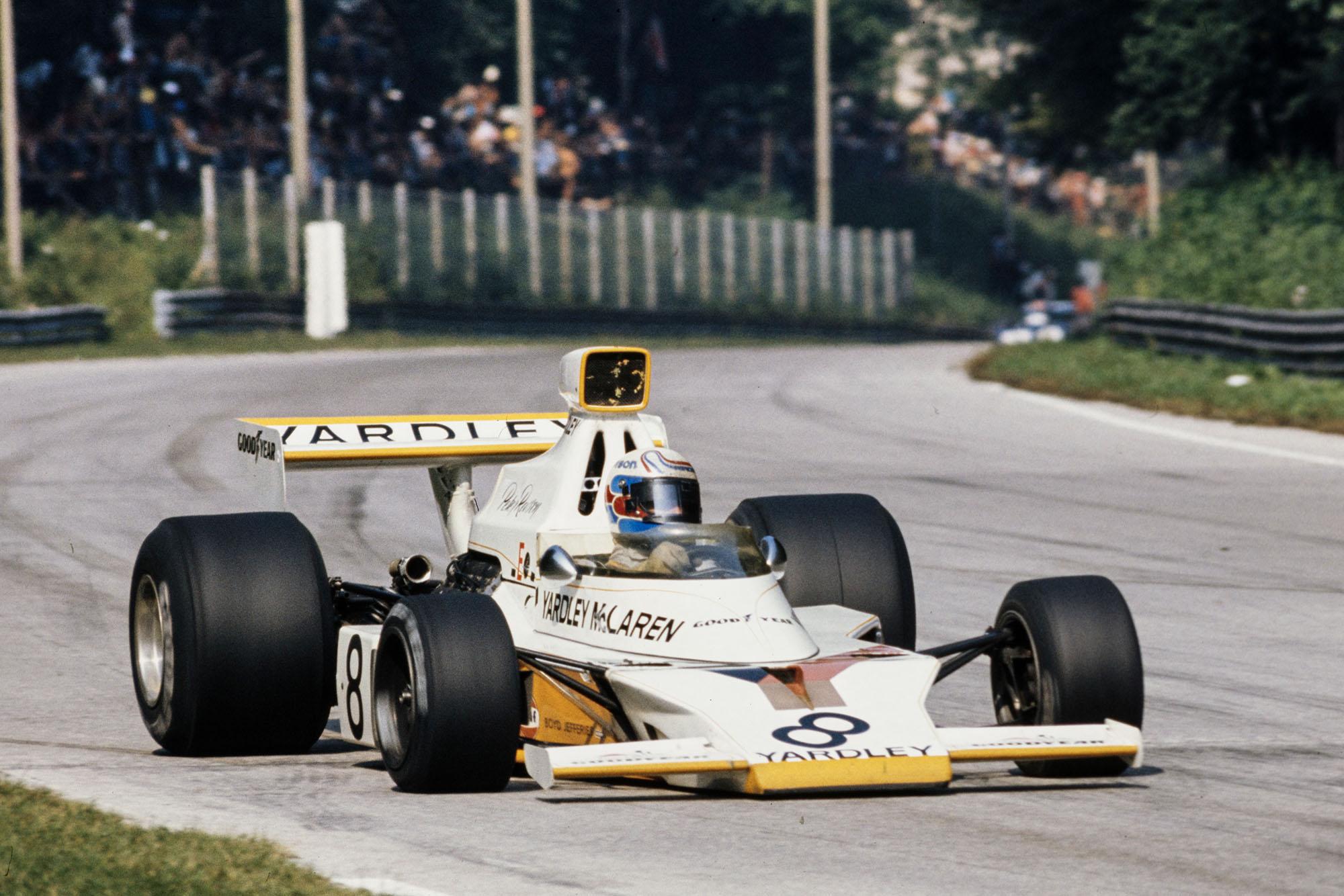 Peter Revson pushing his McLaren at the 1973 Italian Grand Prix, Monza.