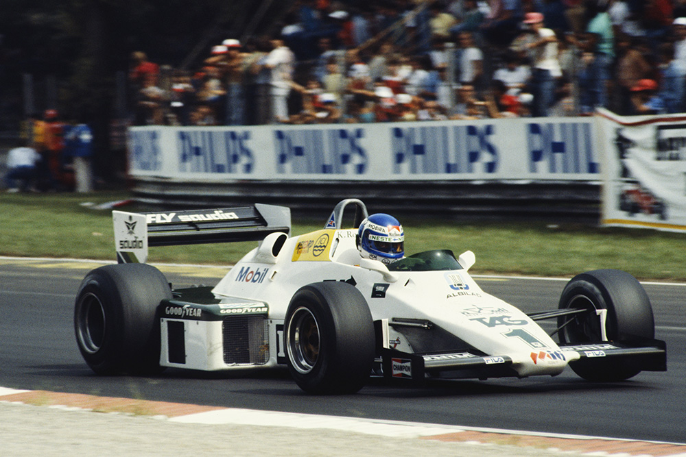 Keke Rosberg in his Williams FW08C Ford, finished in 11th position.