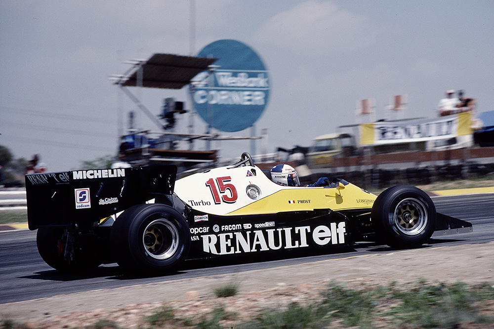 Alain Prost driving a Renault RE40.