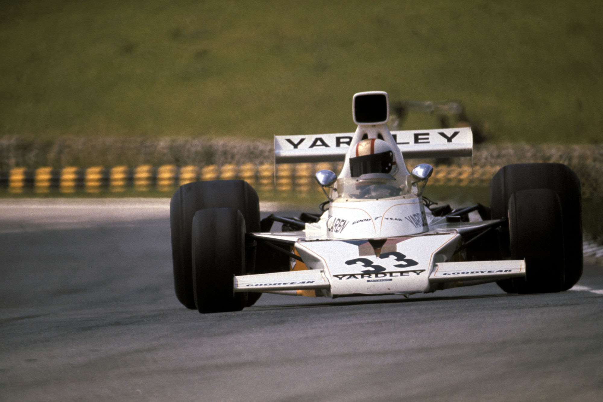 Mike Hailwood driving for McLaren at the 1974 Brazilian Grand prix, Interlagos.
