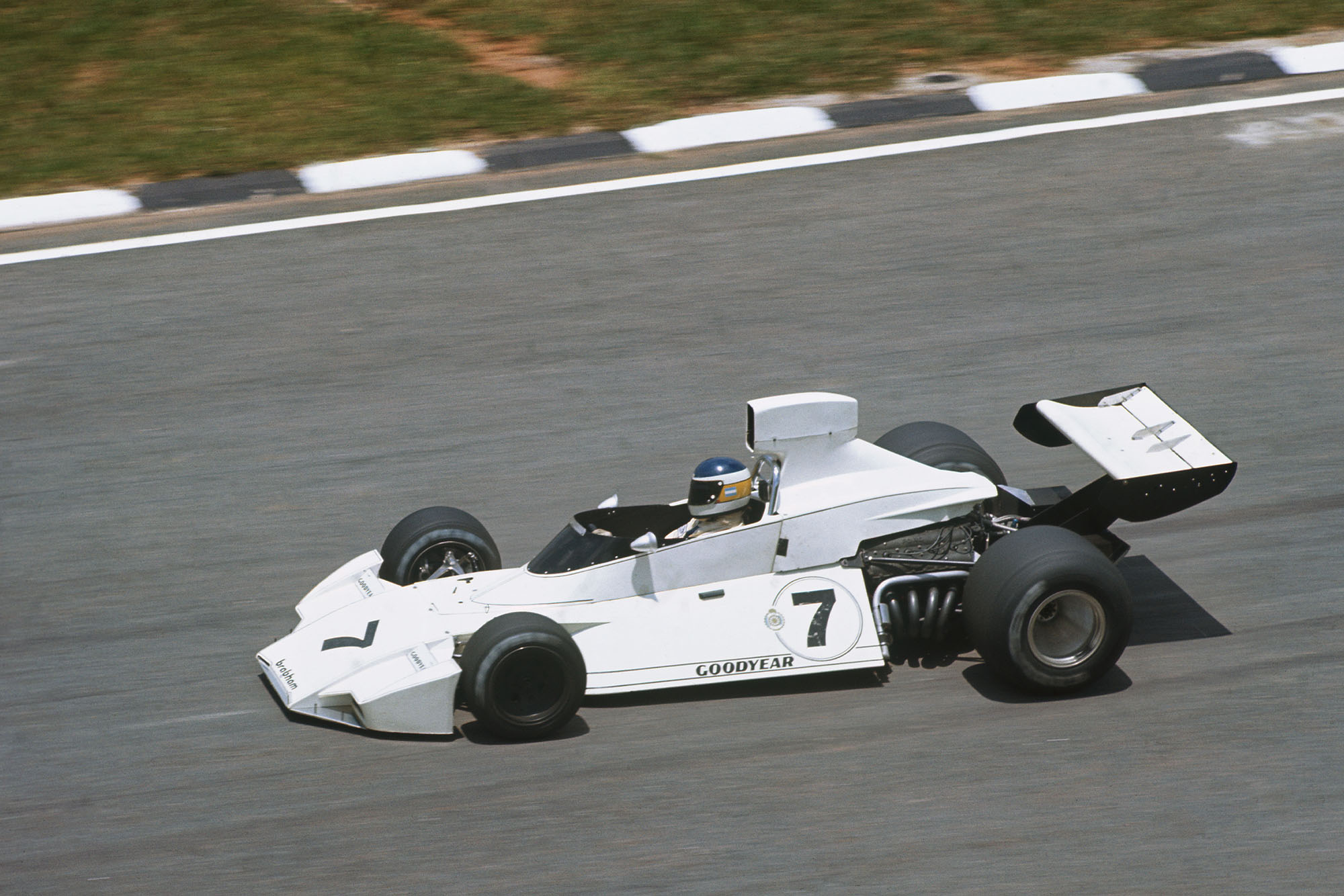 Carlos Reutemann driving for Brabham at the 1974 Brazilian Grand Prix.