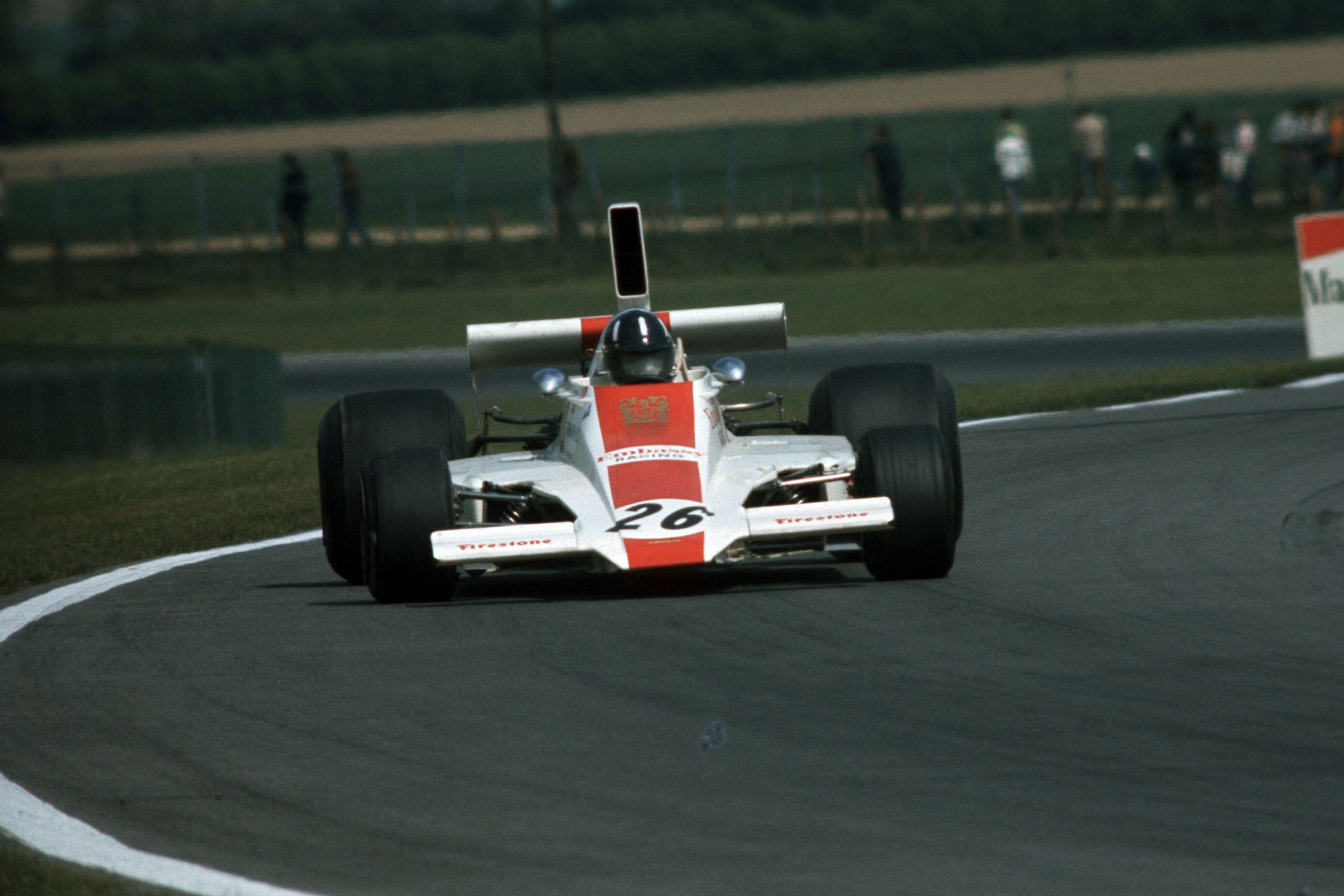 Graham Hill driving for his own Embassy Hill Racing team at the 1974 Belgian Grand Prix