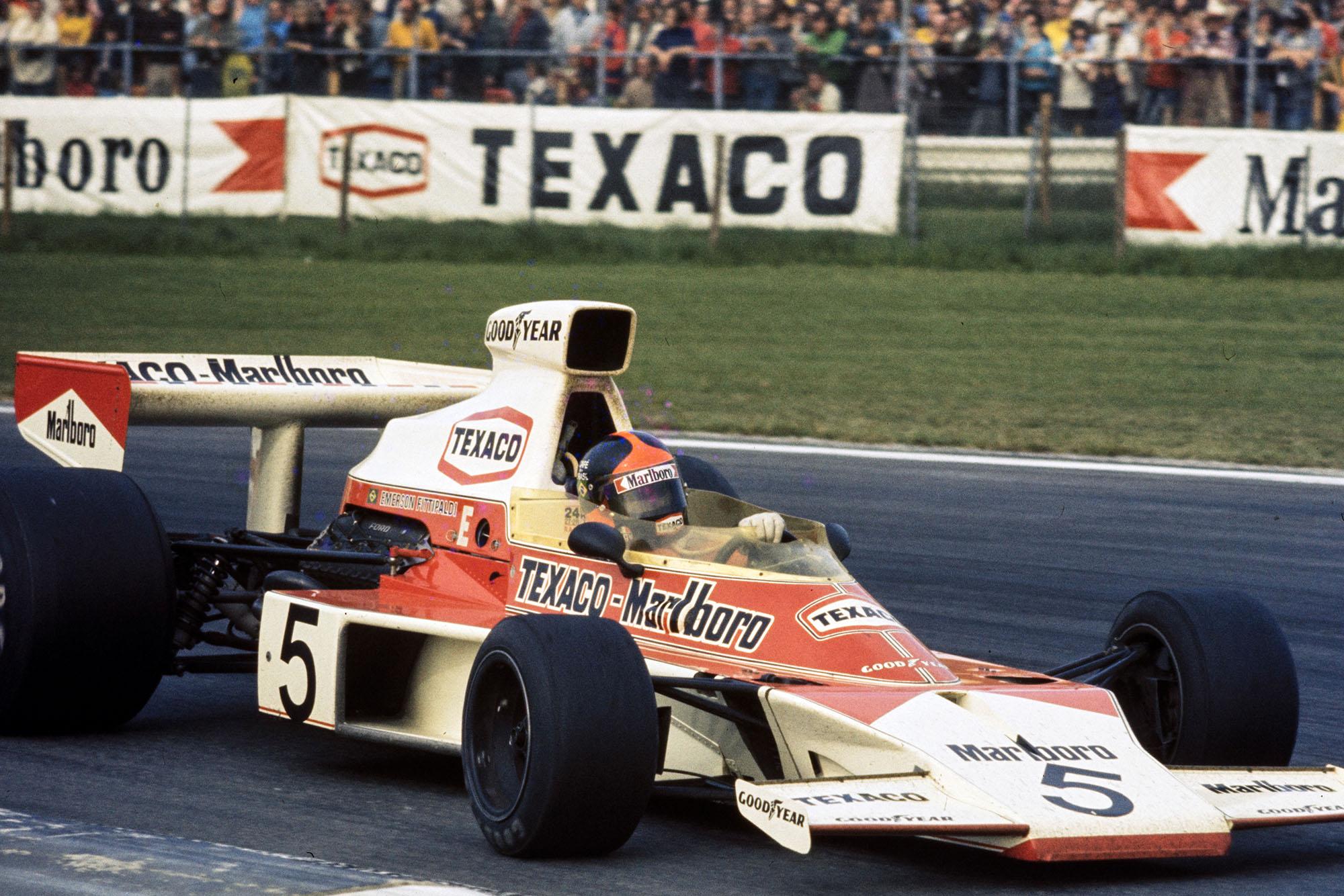 Emerson Fiitpaldi (McLAren) on his way to finishing first at the 1974 Belgian Grand Prix, Zolder.