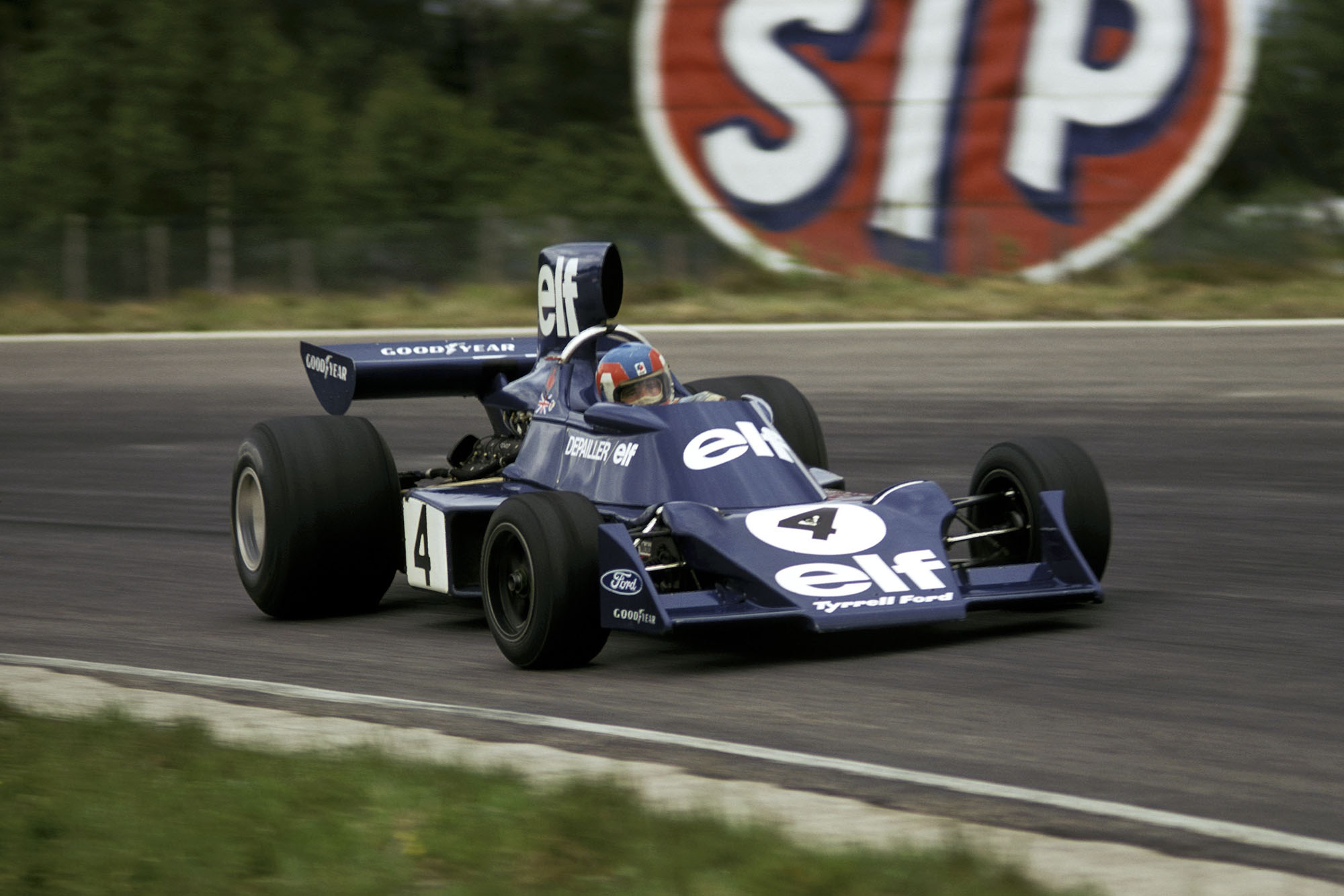 Patrick Depailler competing for Tyrrell at the 1974 Swedish Grand Prix.