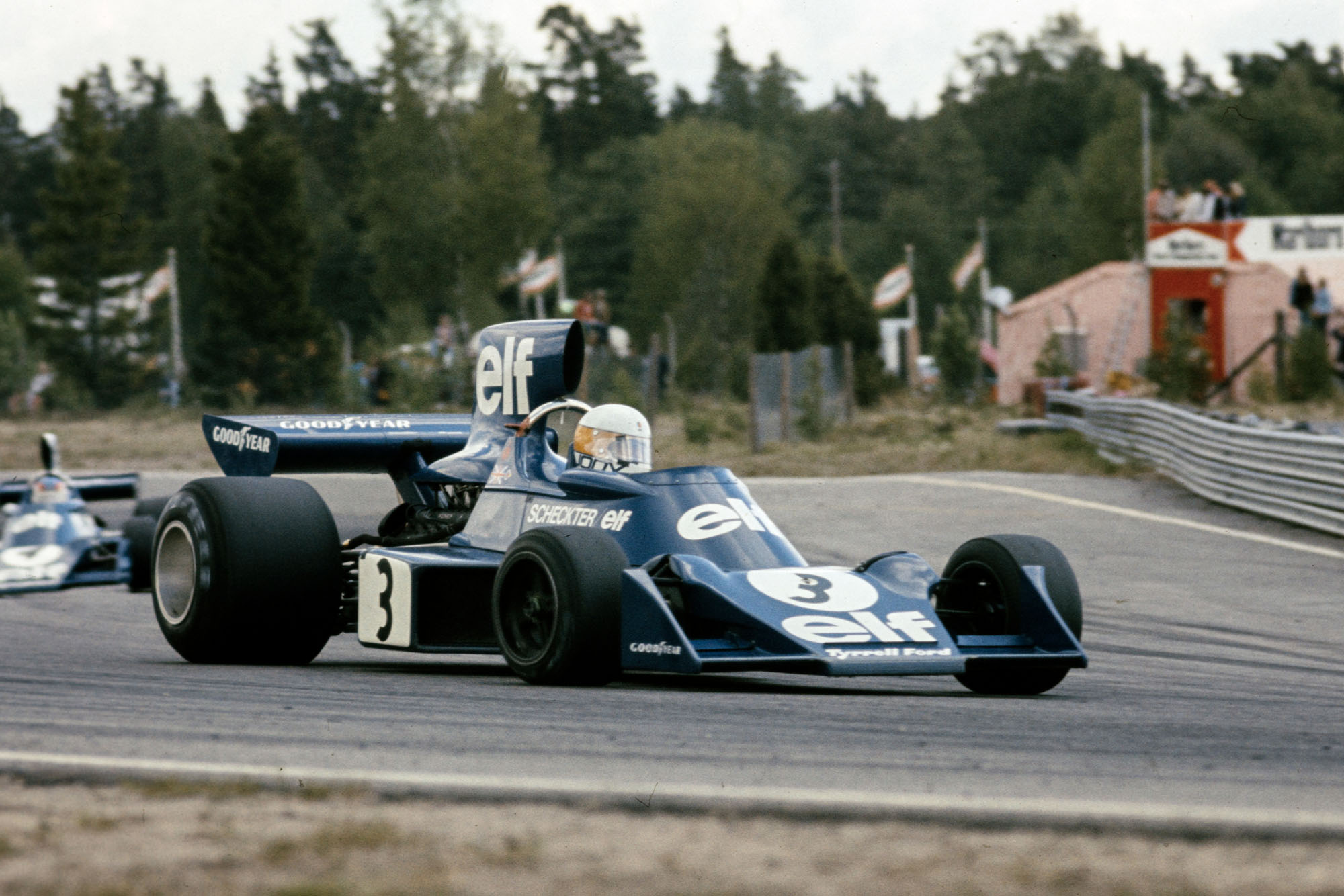 Jody Scheckter on the way to victory for Tyrrell at the 1974 Swedish Grand Prix.