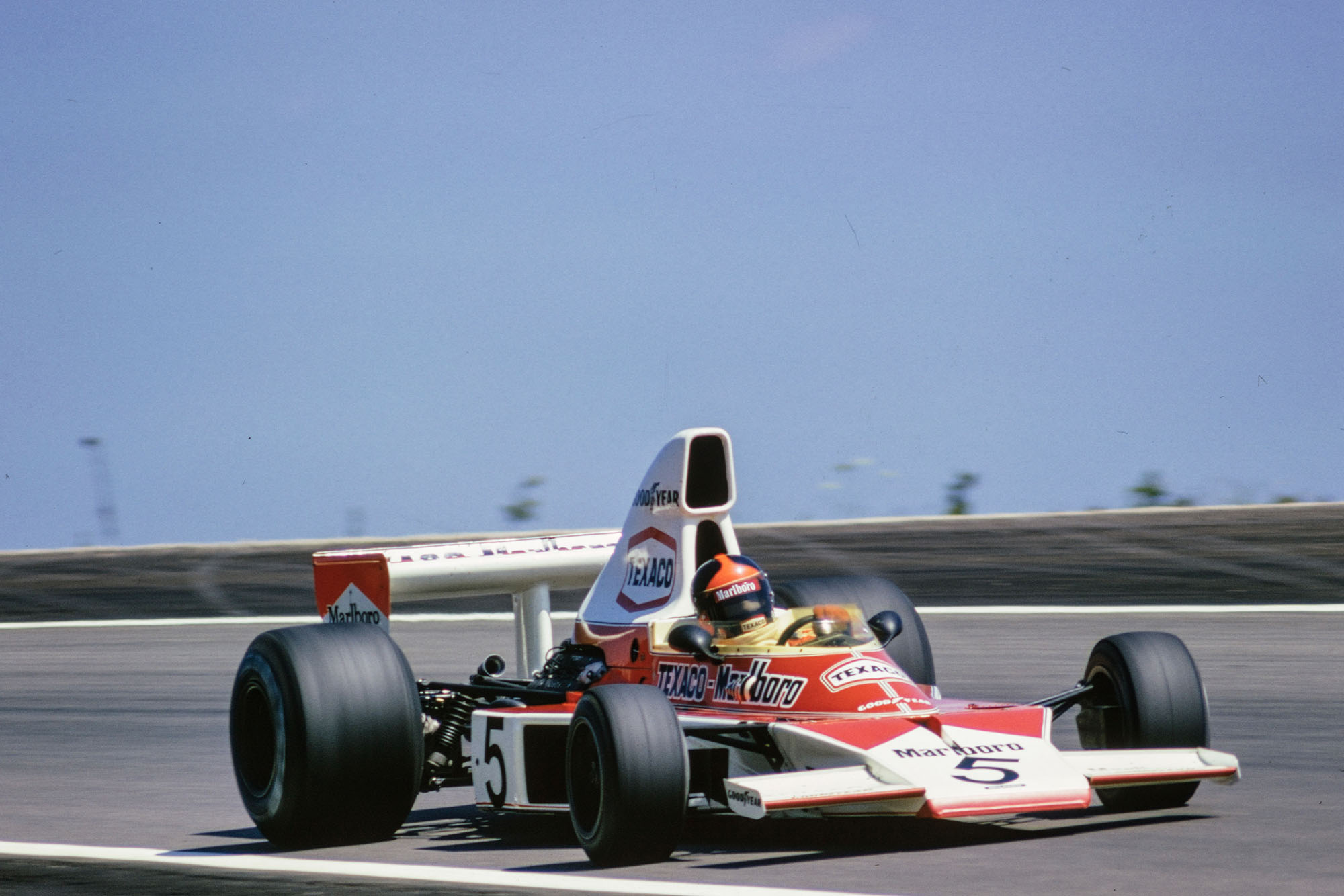Emerson Fittipaldi driving for McLaren at the 1974 French Grand Prix, Paul Ricard.
