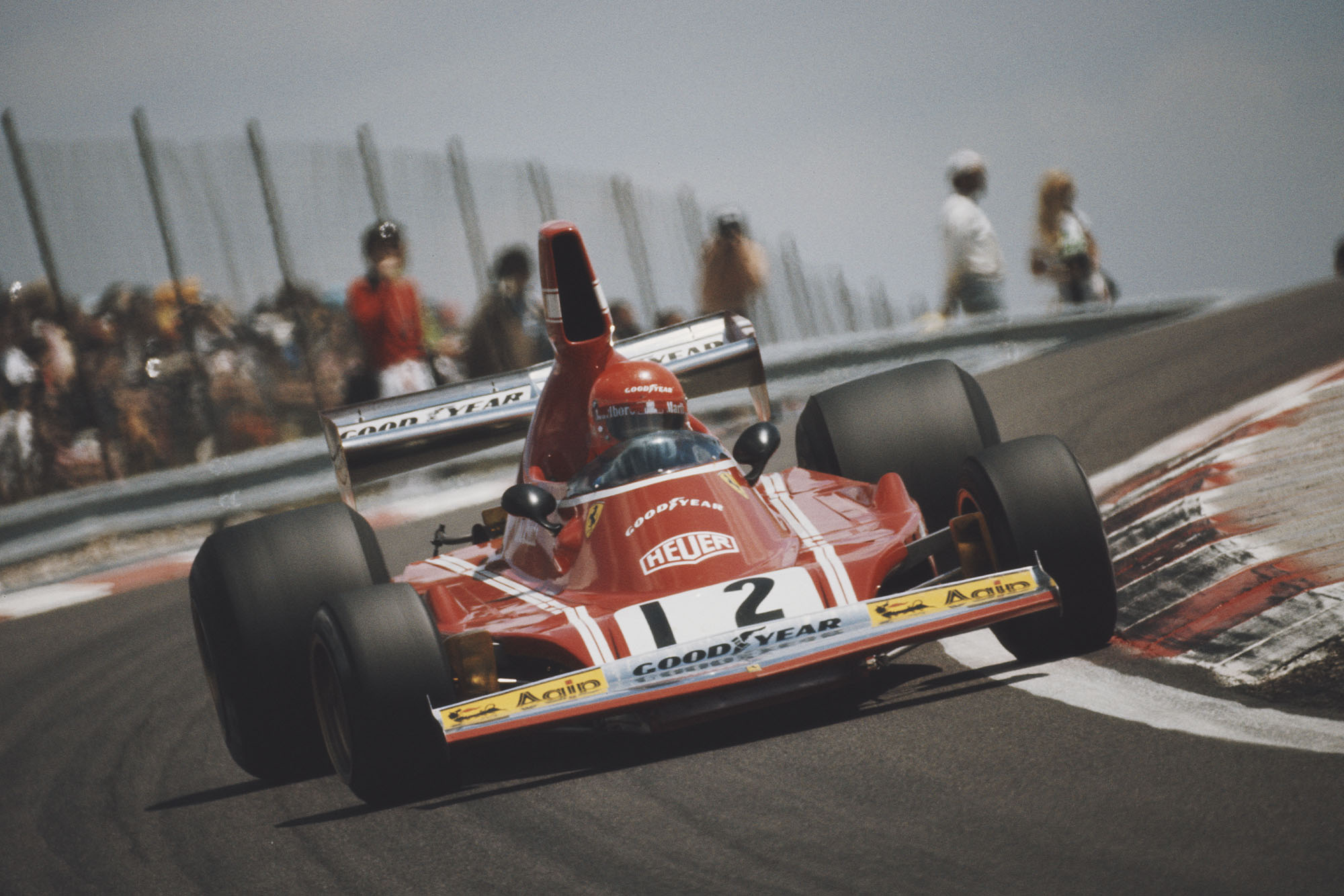 Niki Lauda (Ferrari) pushes hard at the 1974 French Grand Prix, Paul Ricard.