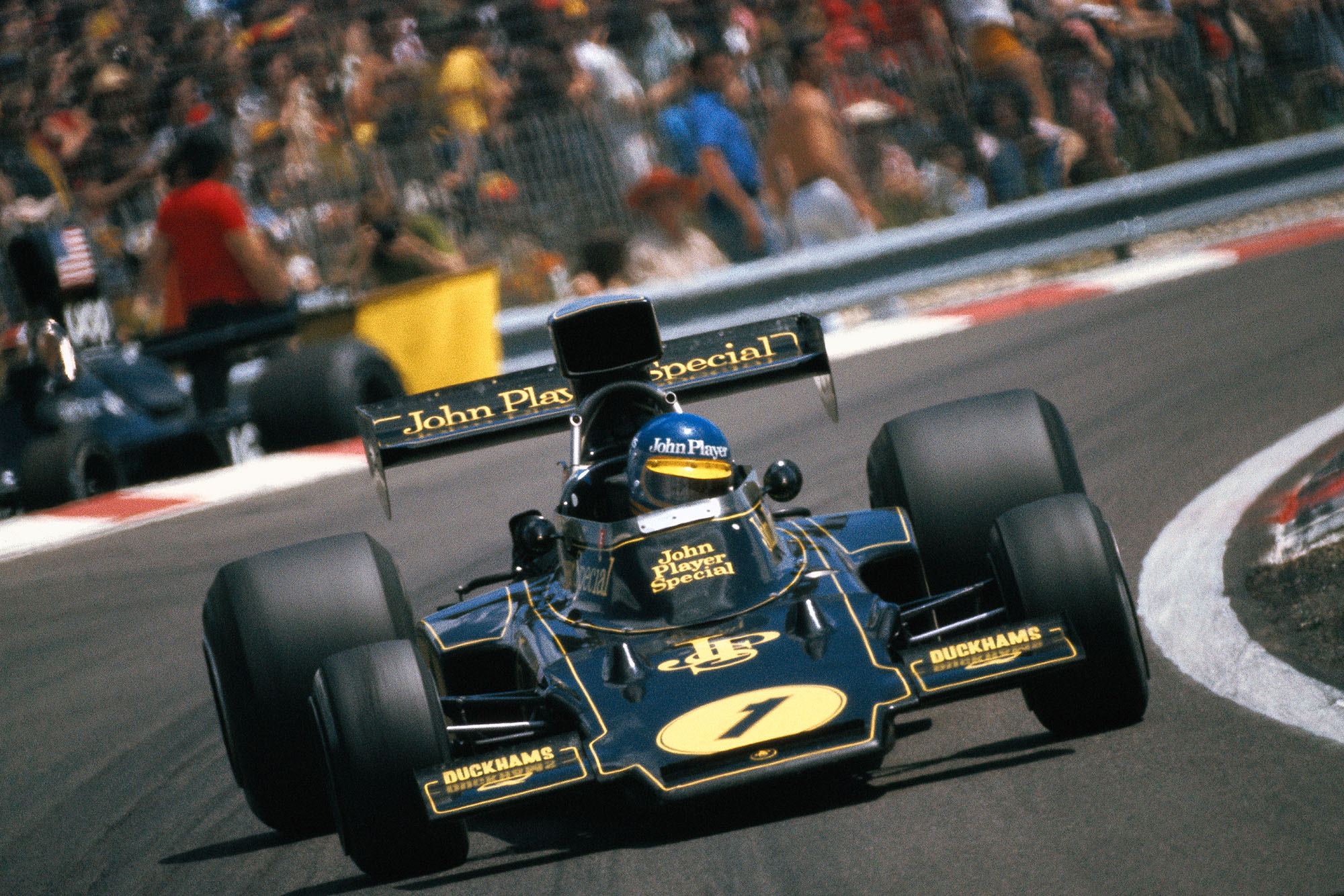 Ronnie Peterson in his Lotus at the 1974 French Grand Prix, Paul Ricard.