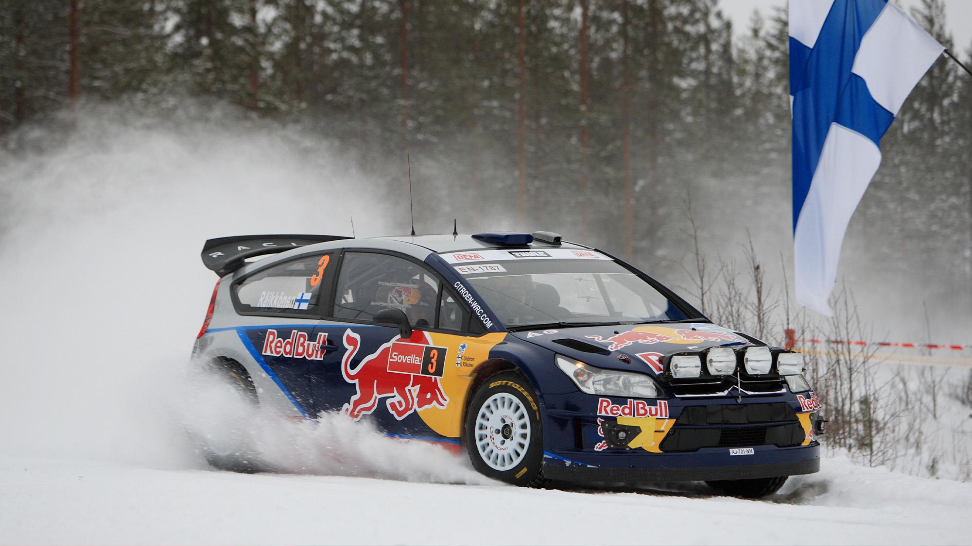 Kimi Raikkonen's Citroen C4 WRC on the snow during 2010 Rally Finland