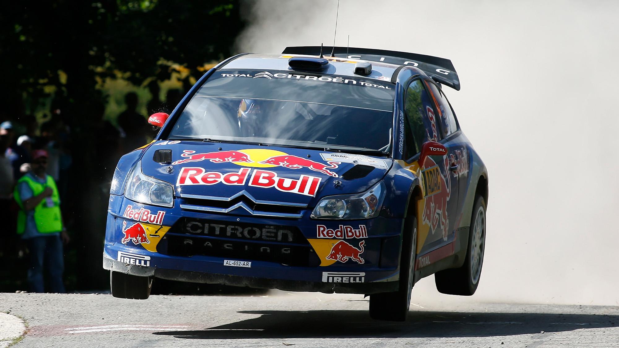 Kimi Raikkonen's Citroen in mid air on the 2010 Rally Germany Rally Deutschland