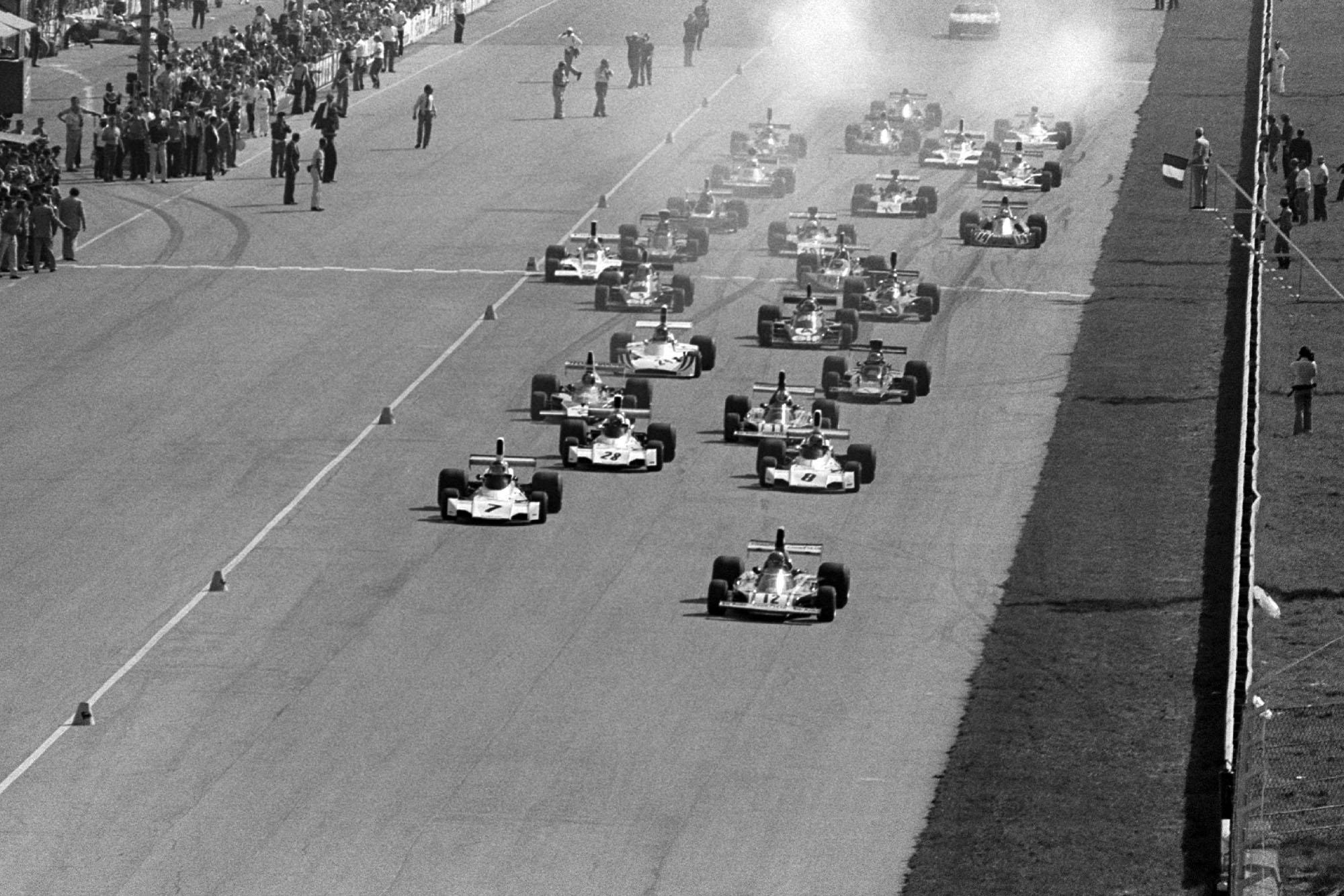 The 1974 Italian Grand Prix gets underway at Monza.