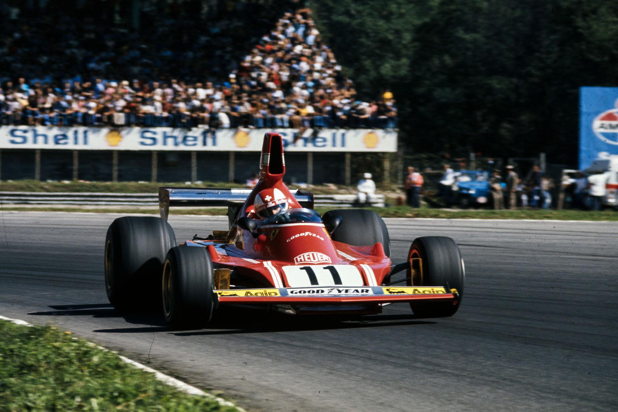 Clay Regazzoni driving for Ferrari at the 1974 Italian Grand Prix