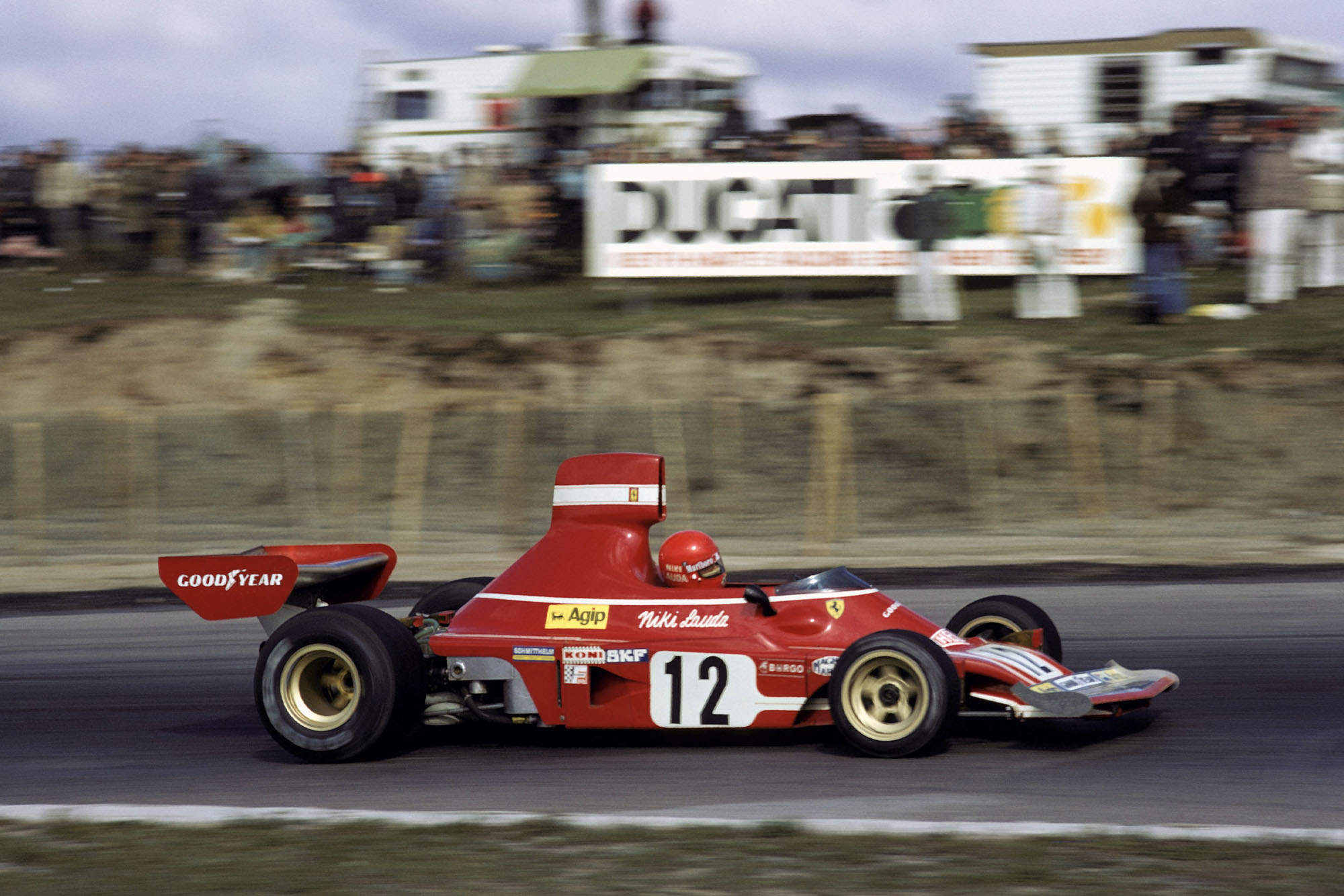 Niki Lauda competing for the Ferrari at the 1974 Canadian Grand Prix