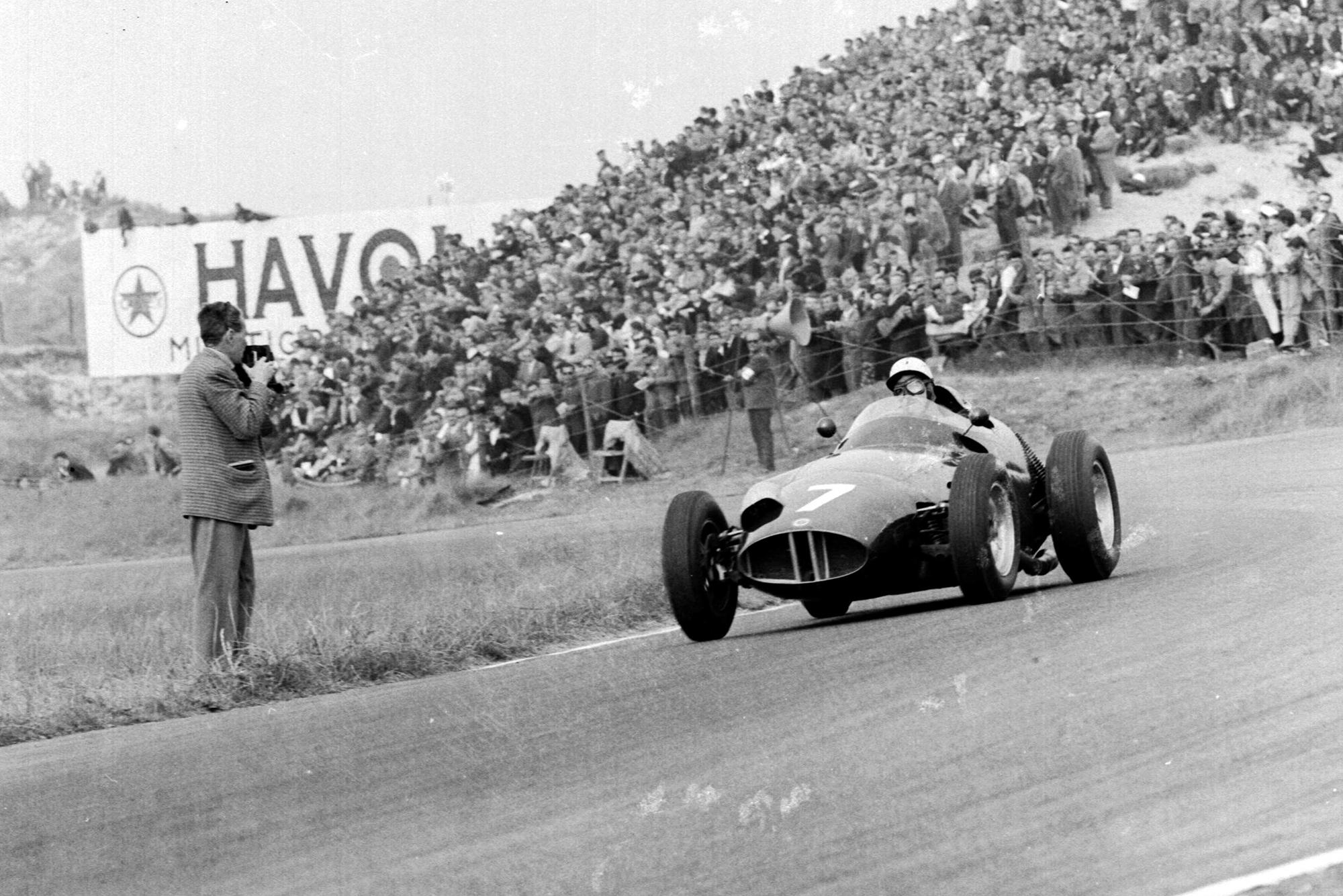 Jo Bonnier driving his BRM P25 to 1st position