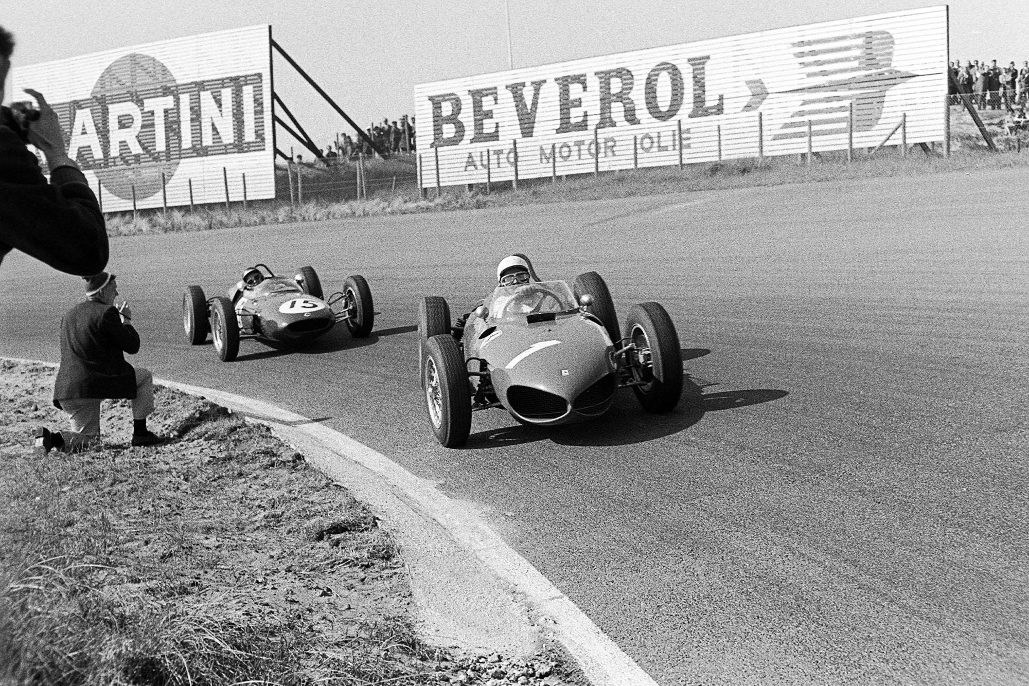 Phil Hill leads Jim Clark at the 1961 Dutch Grand Prix at Zandvoort