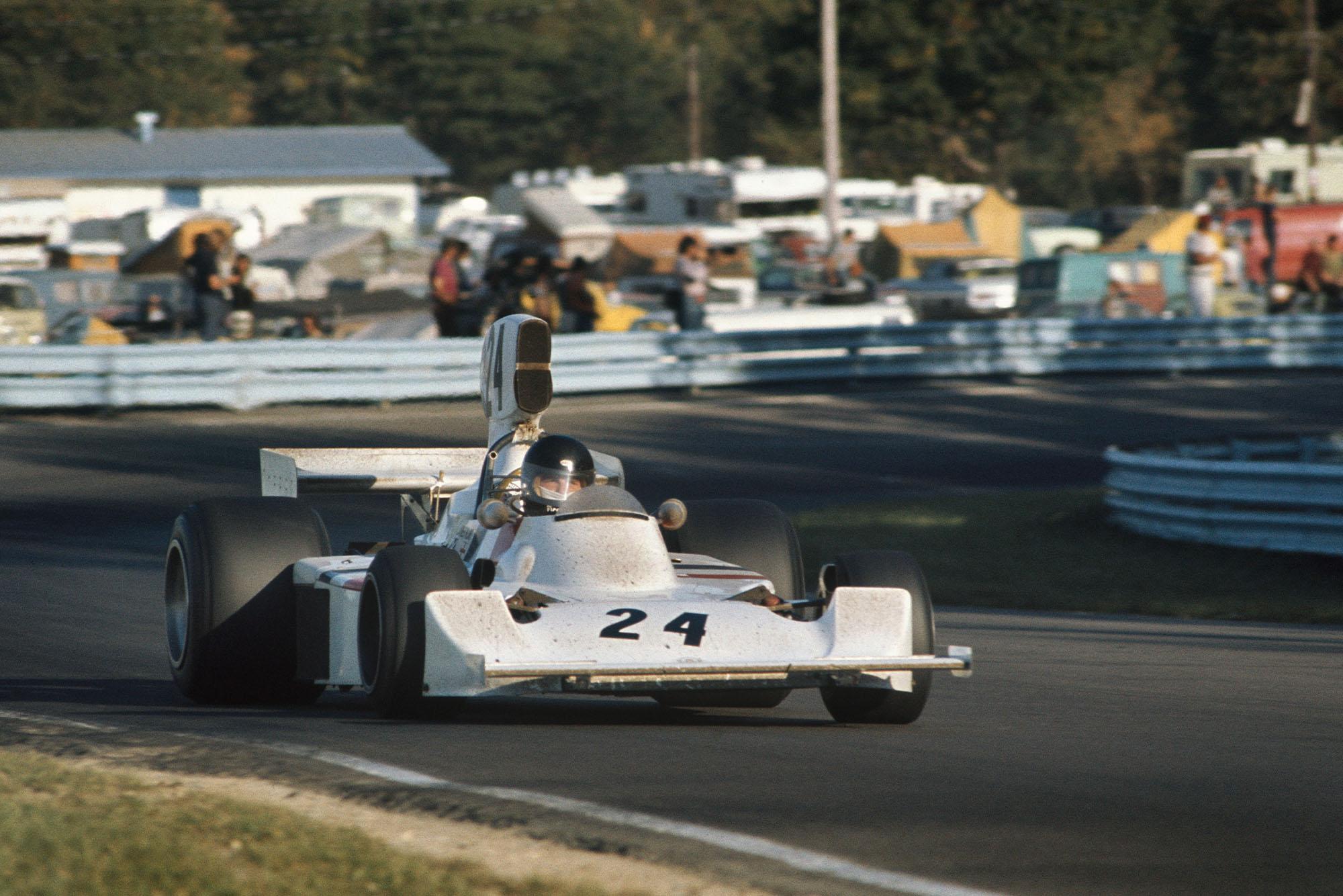 James Hunt (Hesketh) driving at the 1974 Unites States Grand Prix, Watkins Glen.