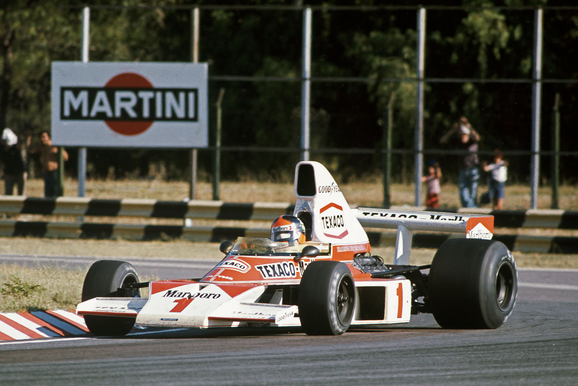 Emerson Fittipaldi sets the pace in his McLaren at the 1975 Argentinian Grand Prix.