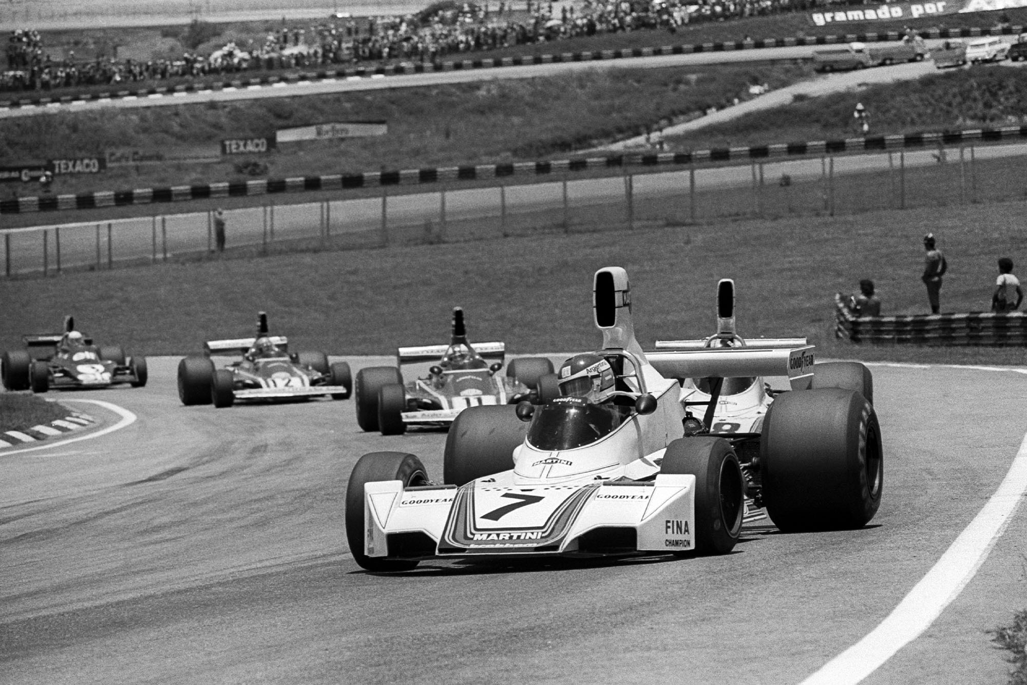 Brabham's Carlos Pace driving at the 1975 Brazilian Grand Prix, Interlagos.