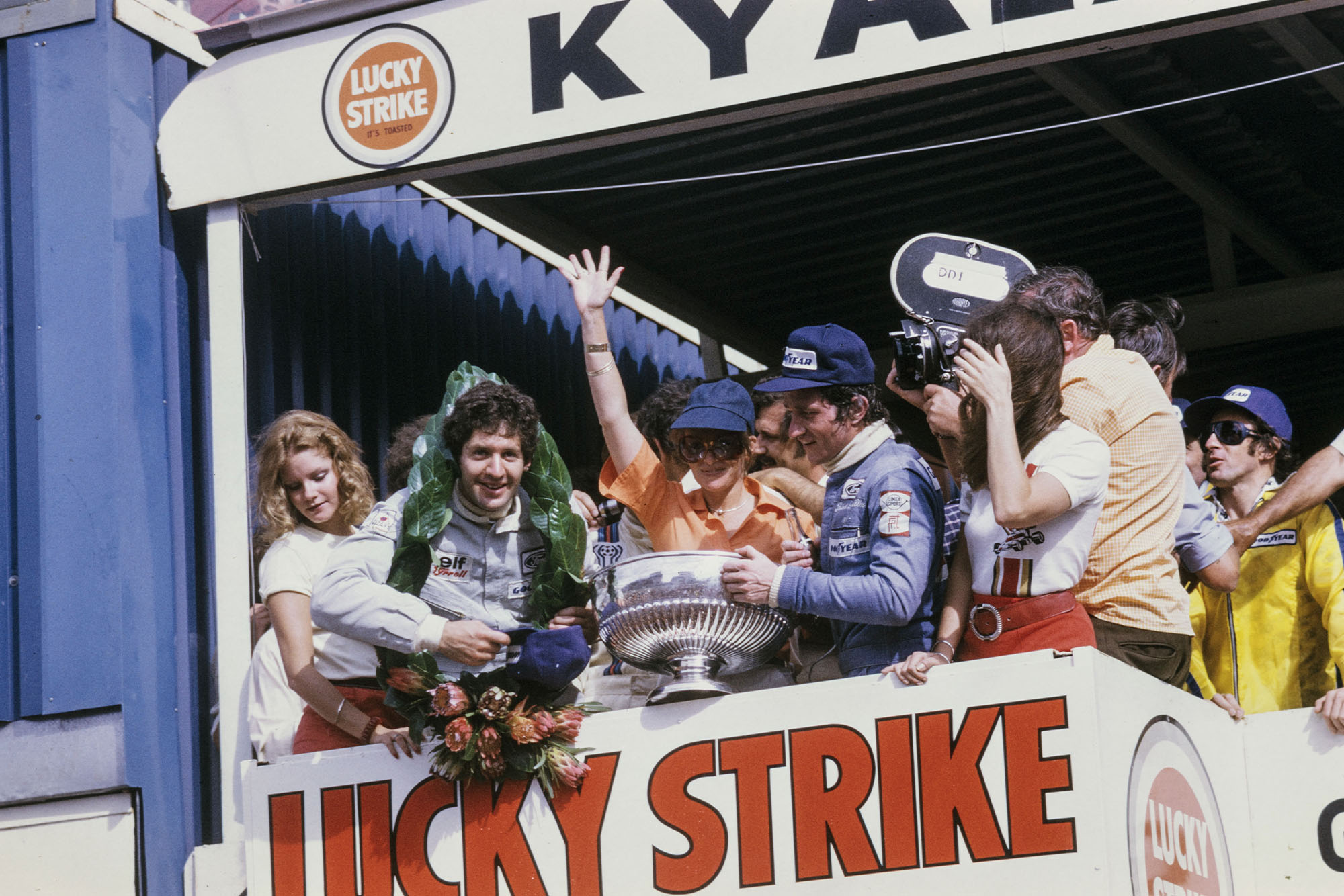Jody Scheckter (Tyrrell) celebrates his victory at the 1975 South Africa, Kyalami.