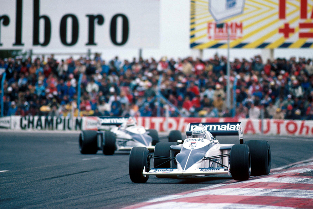 Riccardo Patrese leads his Brabham team mate Nelson Piquet.