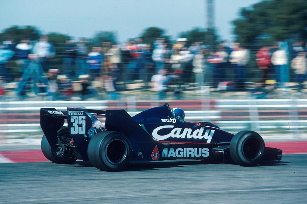 Derek Warwick in his Toleman TG183B.