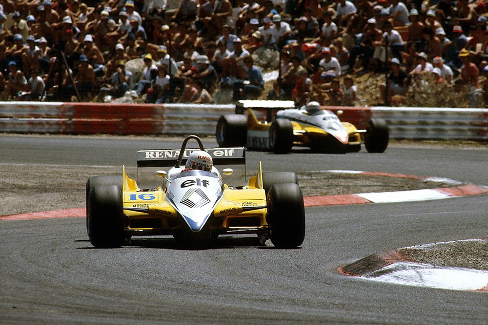 Rene Arnoux leading his teammate Alain Prost, in both Renault RE30B's.