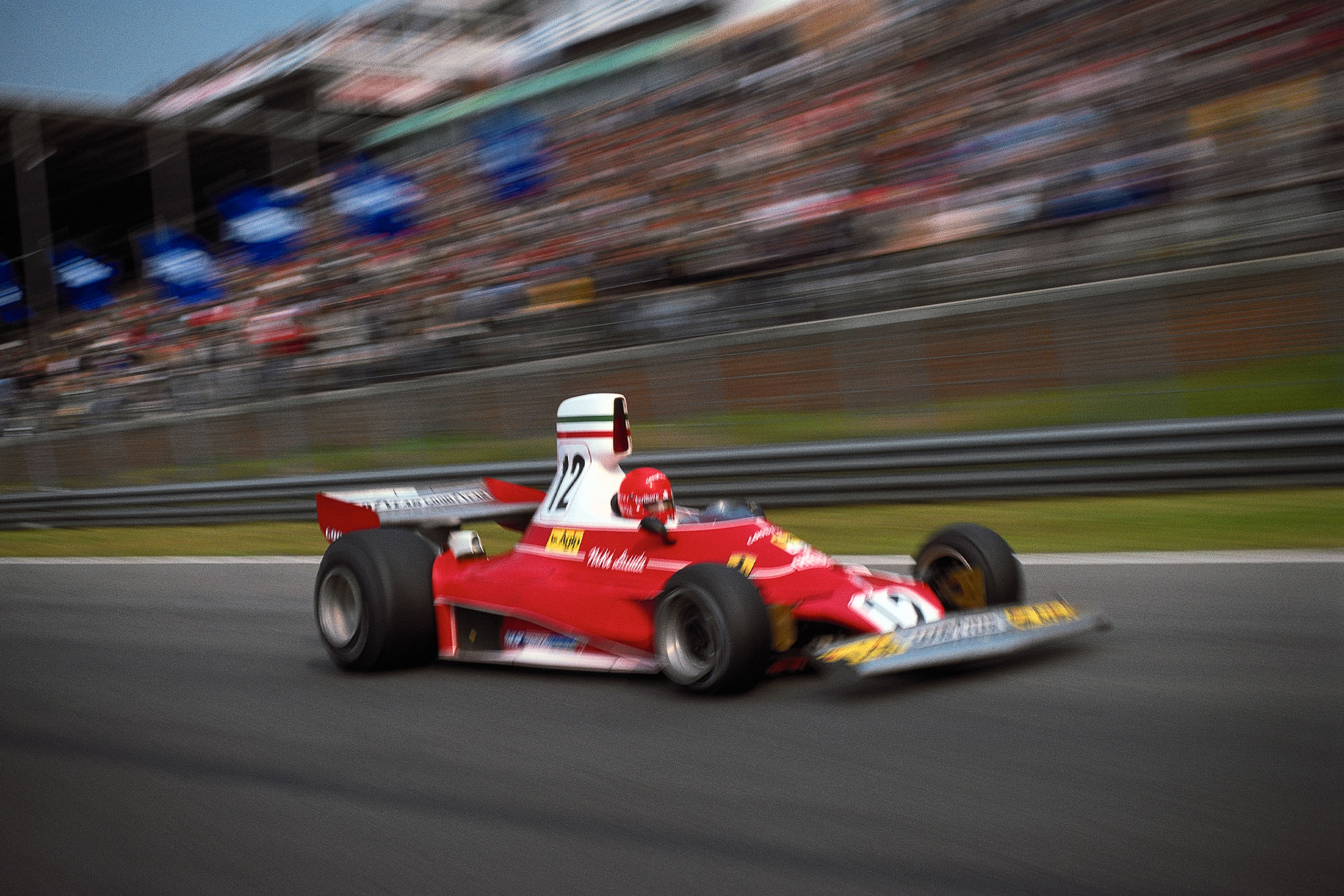 Niki Lauda (Ferrari) at speed at the 1975 Belgian Grand Prix, Zolder.