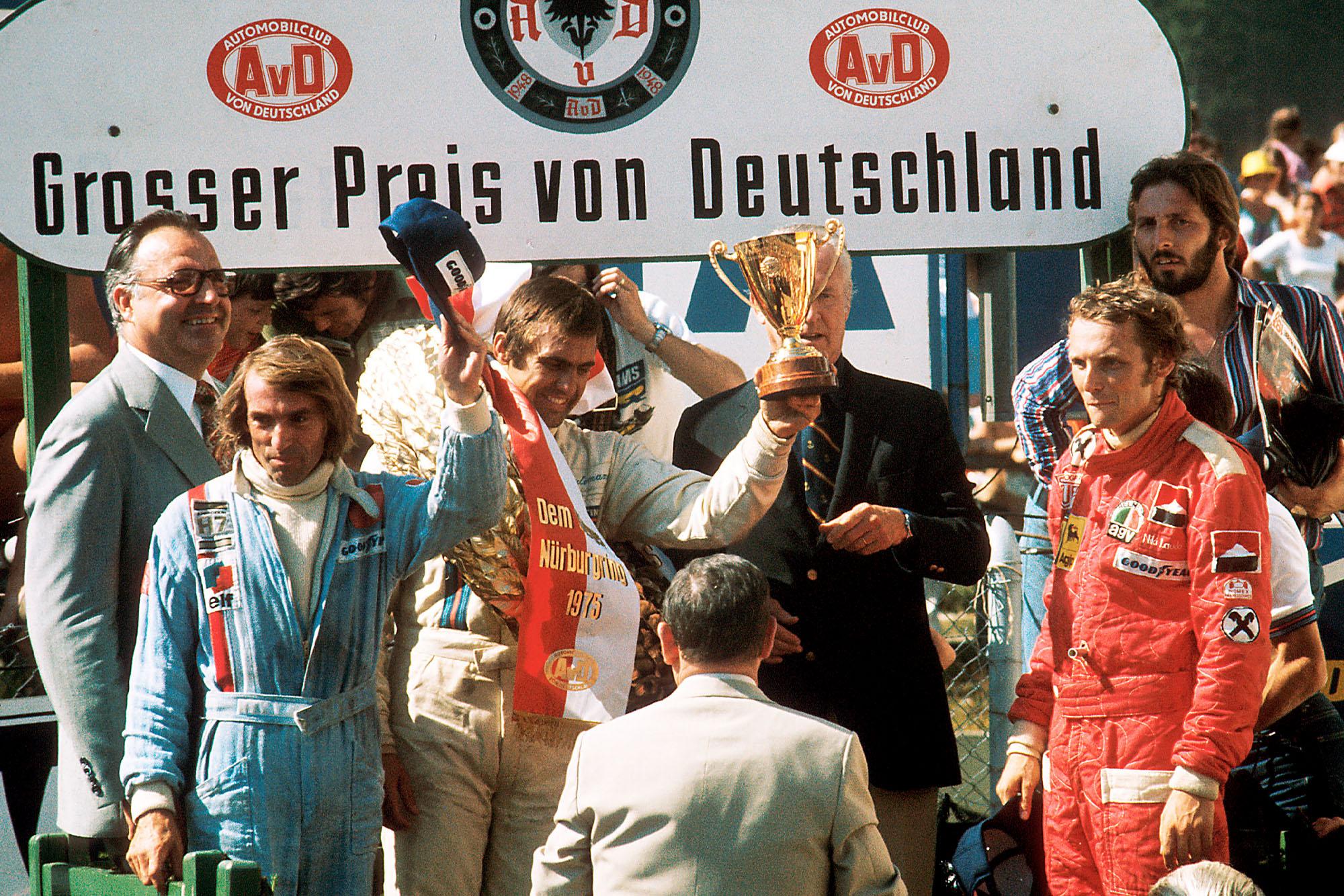 Carlos Reutemann (Brabham) celebrates winning the 1975 German Grand Prix, Nurburgring.