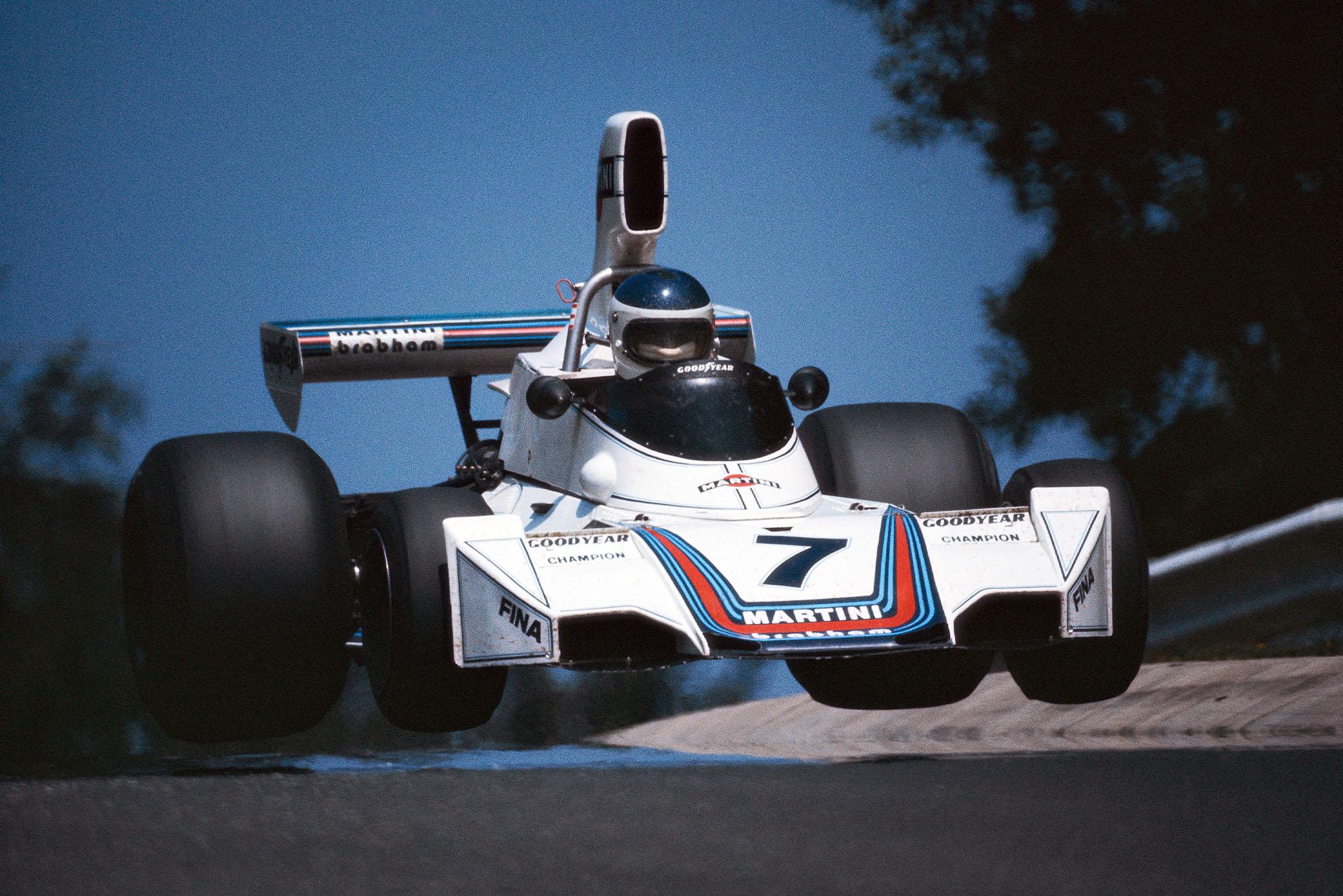 Carlos Reutemann's Brabham takes flight at the 1975 German Grand Prix, Nurburgring.