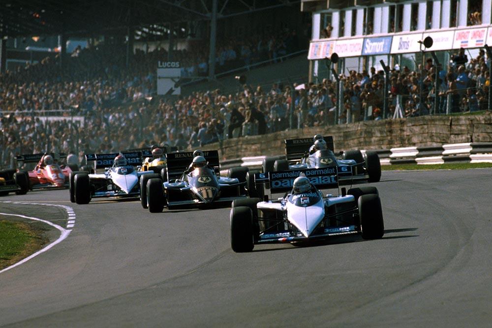 Ricardo Patrese driving his Brabham BT 52B leads Elio de Angelis.
