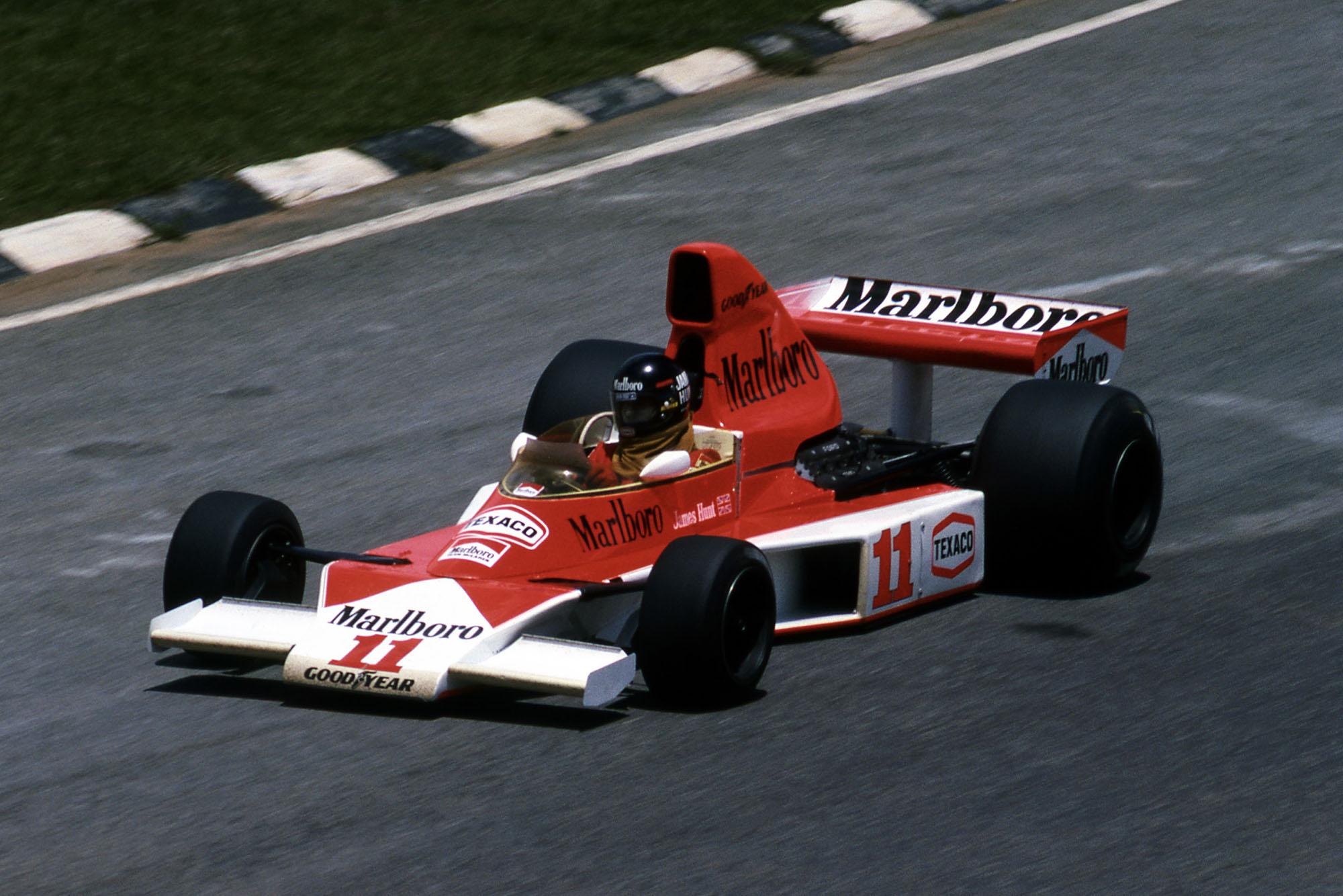 James Hunt driving for McLaren at the 1976 Brazilian Grand Prix, Interlagos.