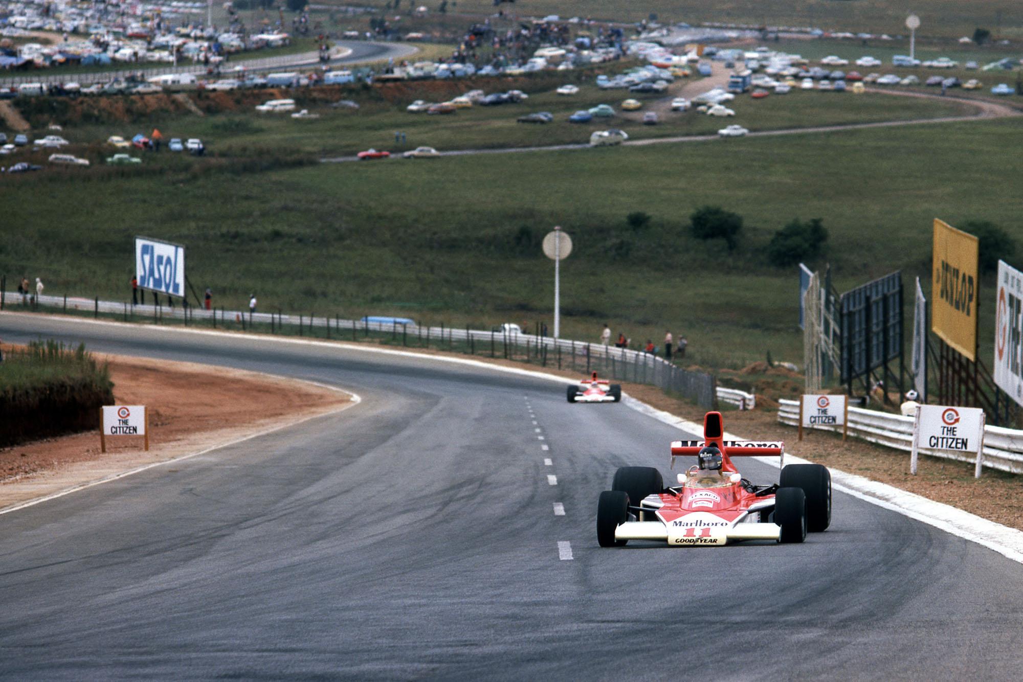 James Hunt (McLaren) driving at the 1976 South African Grand Prix, Kyalami.