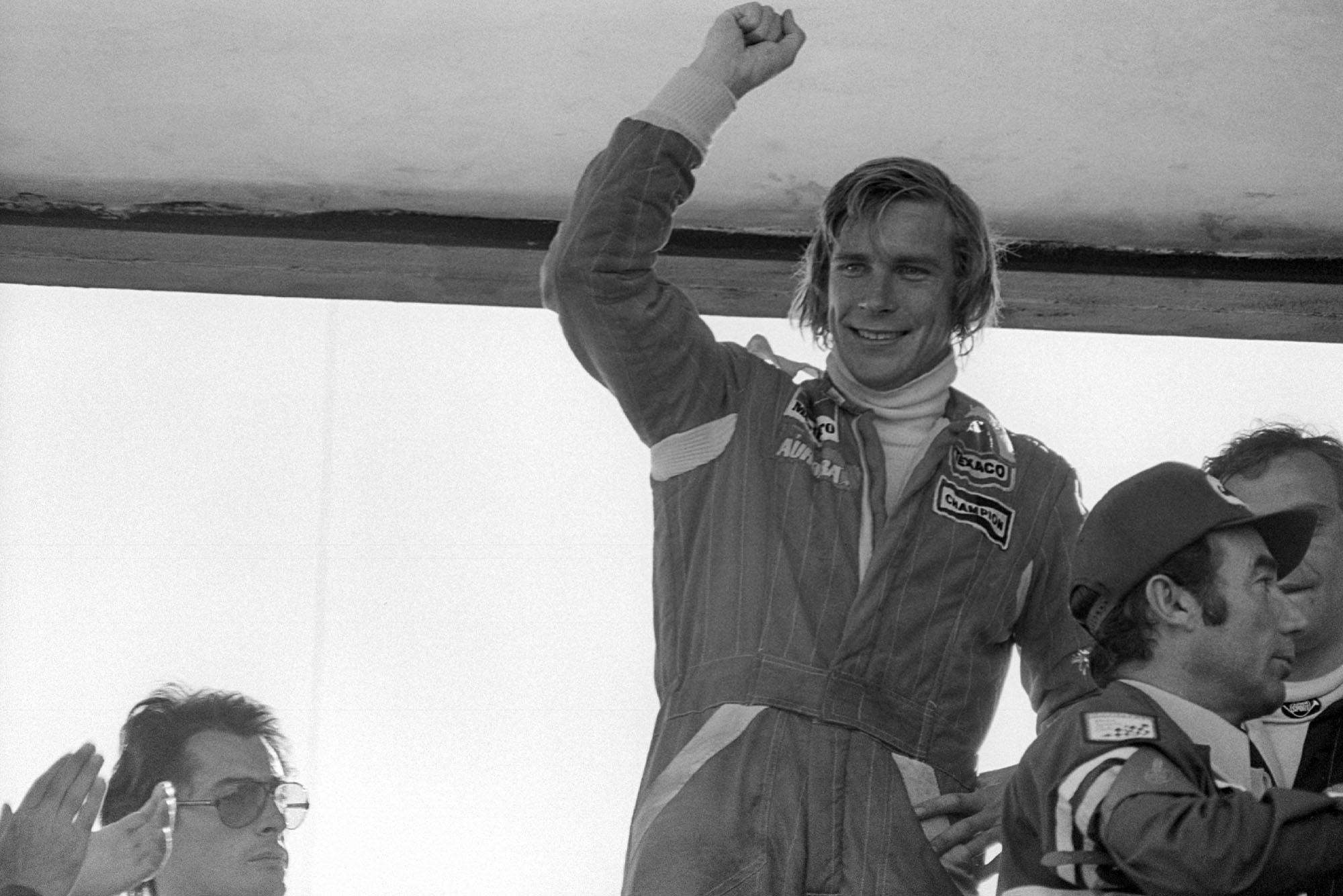 James Hunt (McLaren) after winning the 1976 Spanish Grand Prix.