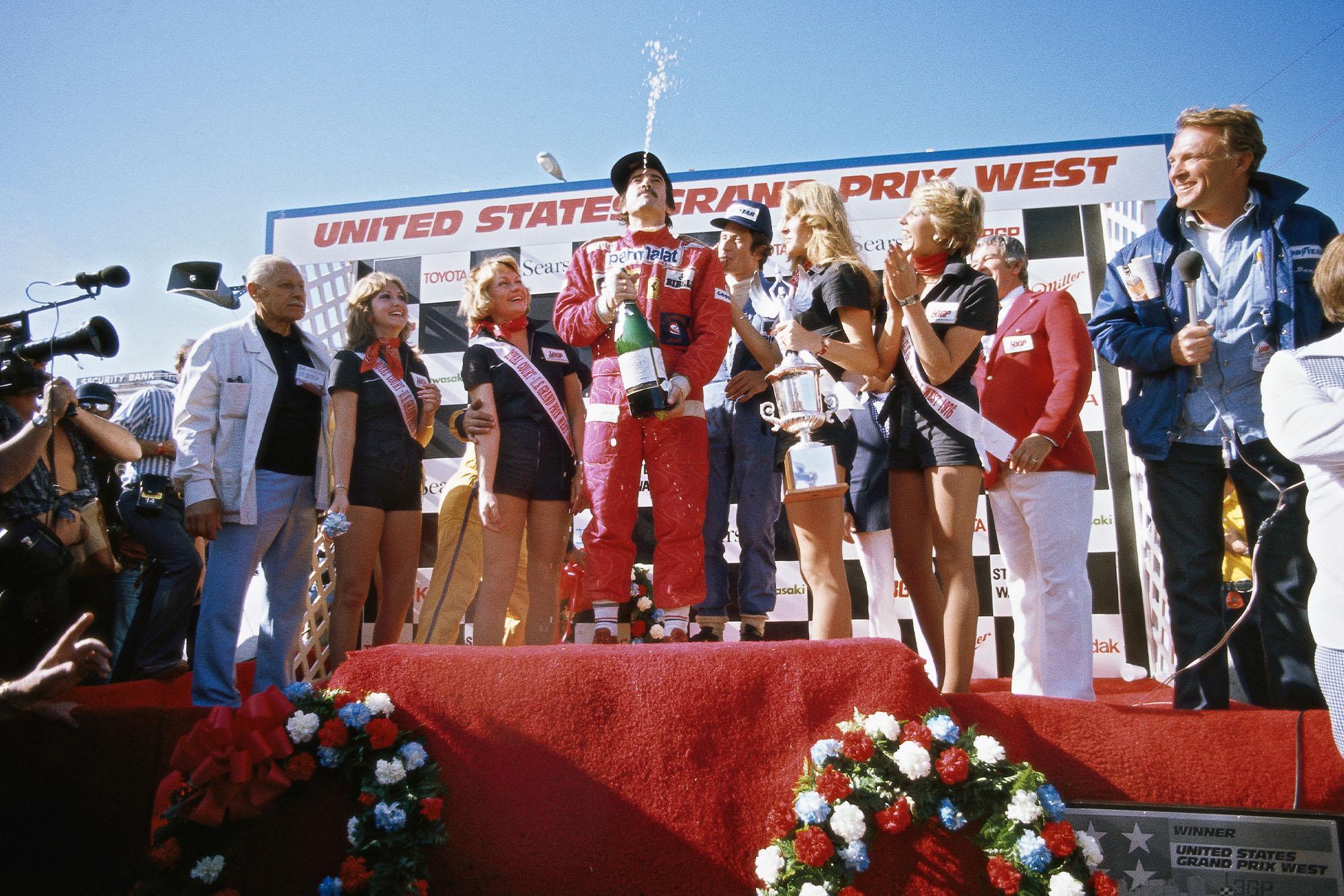 Clay Regazzoni celebrates his win at the 1976 United States Grand Prix, Long Beach.