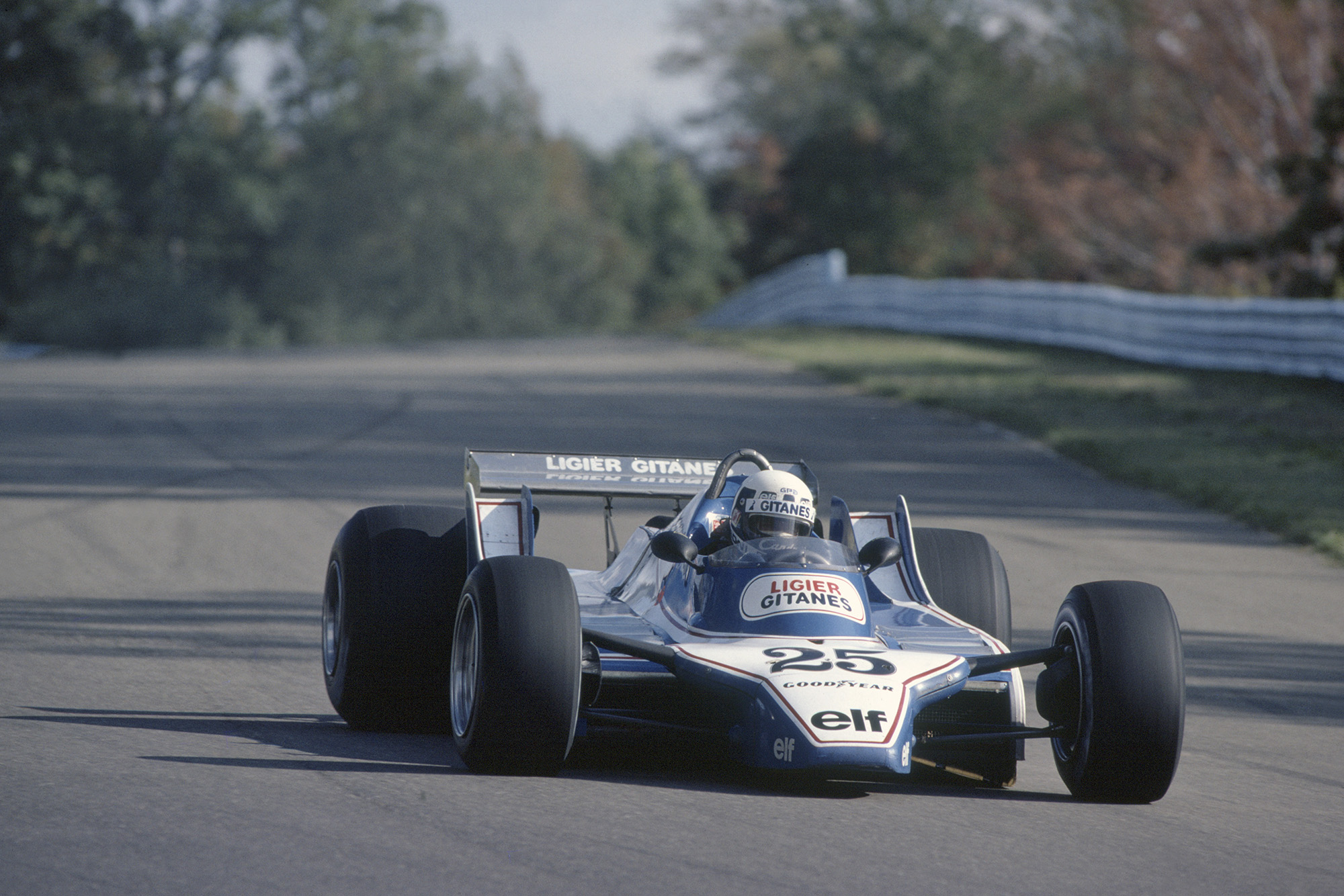 Didier Pironi in his Ligier Ford Cosworth in the 1980 US GP
