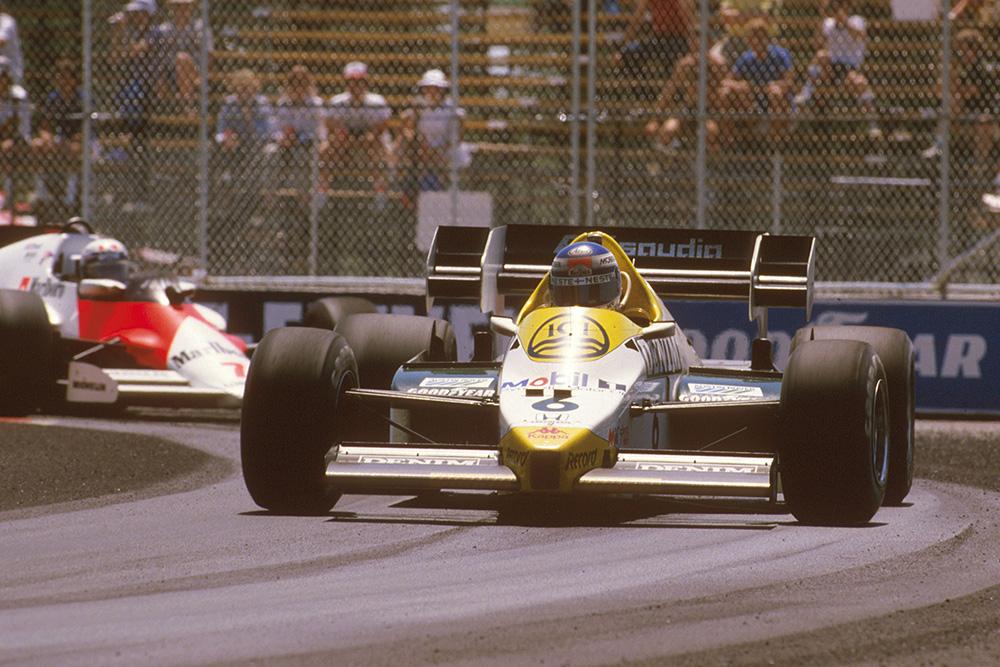 Keke Rosberg at the wheel of his Williams FW09 Honda.